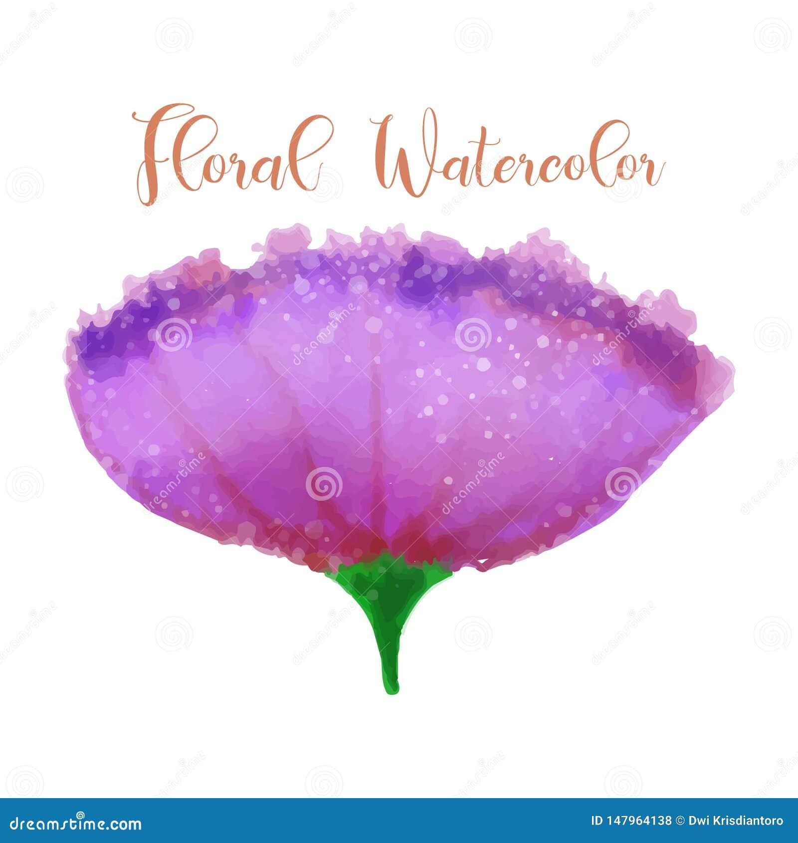 Flower watercolor design element. Watercolor floral vector art