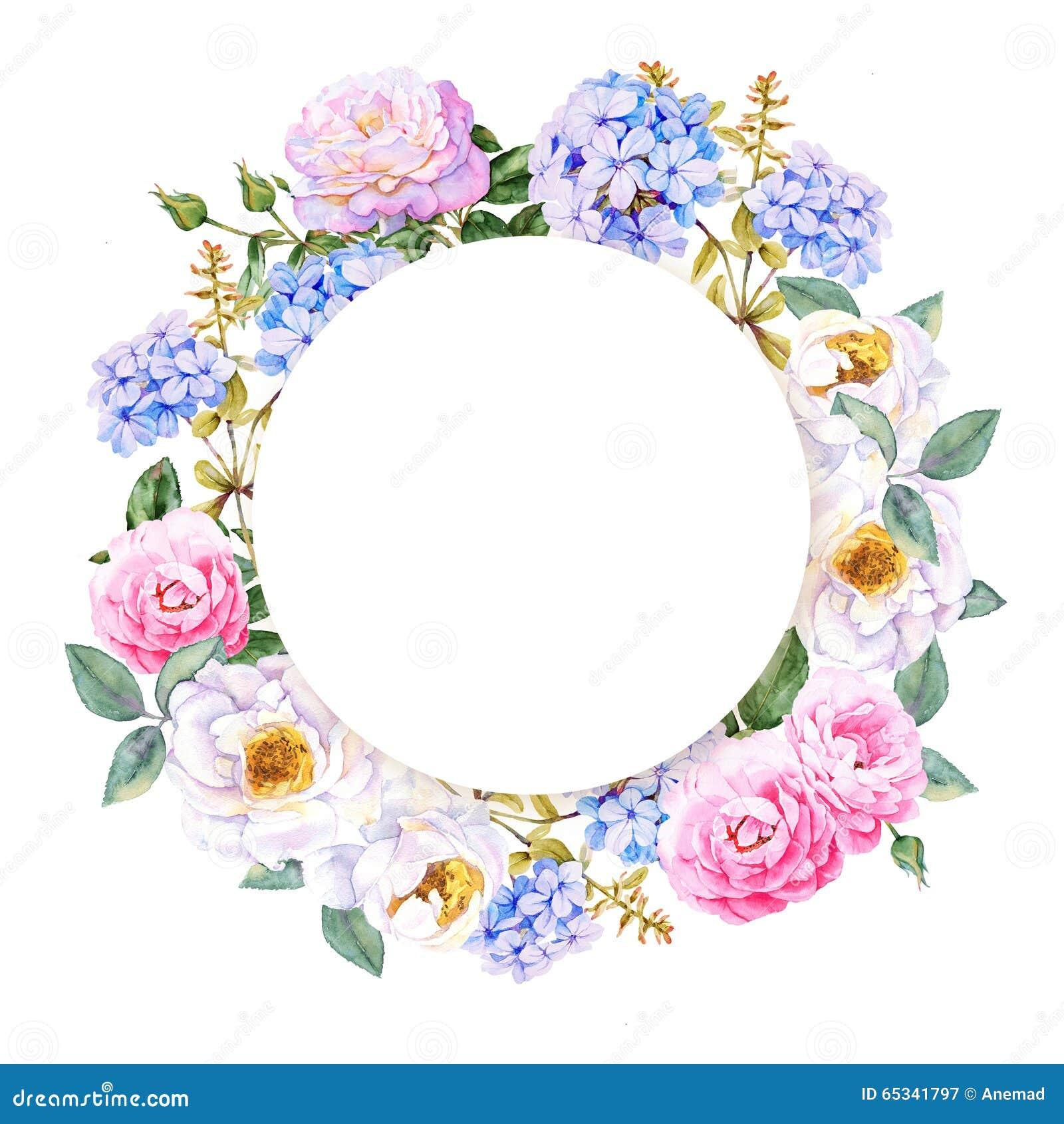 Flower Watercolor Spring Wreath