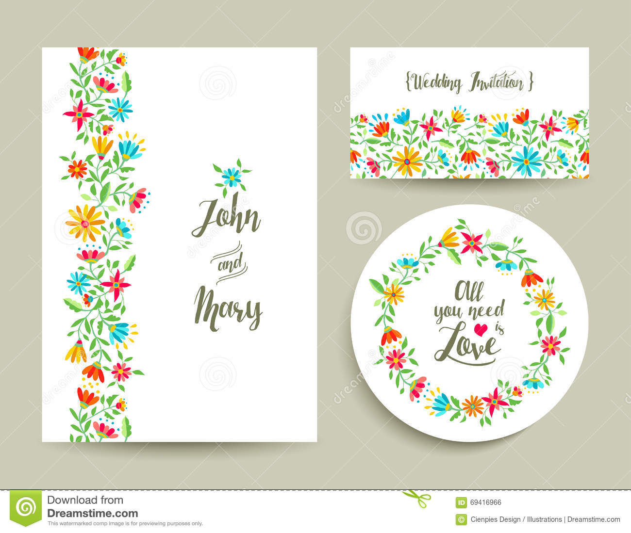 Flower Wedding Card Invitation With Nature Design Stock Vector
