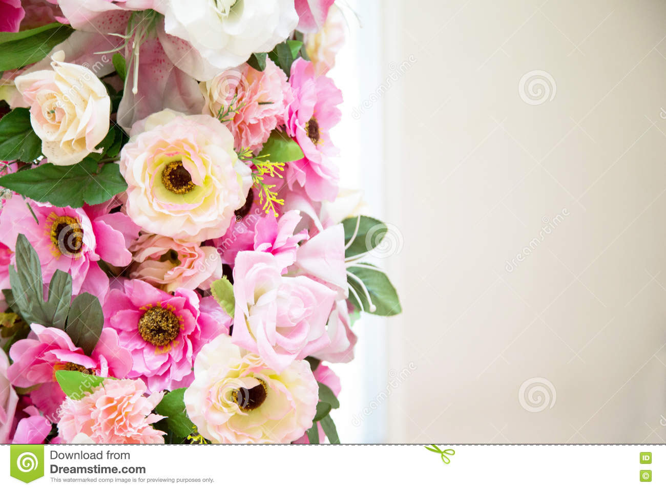 Flower Wedding Decoration Pink And White Colour On Vintage