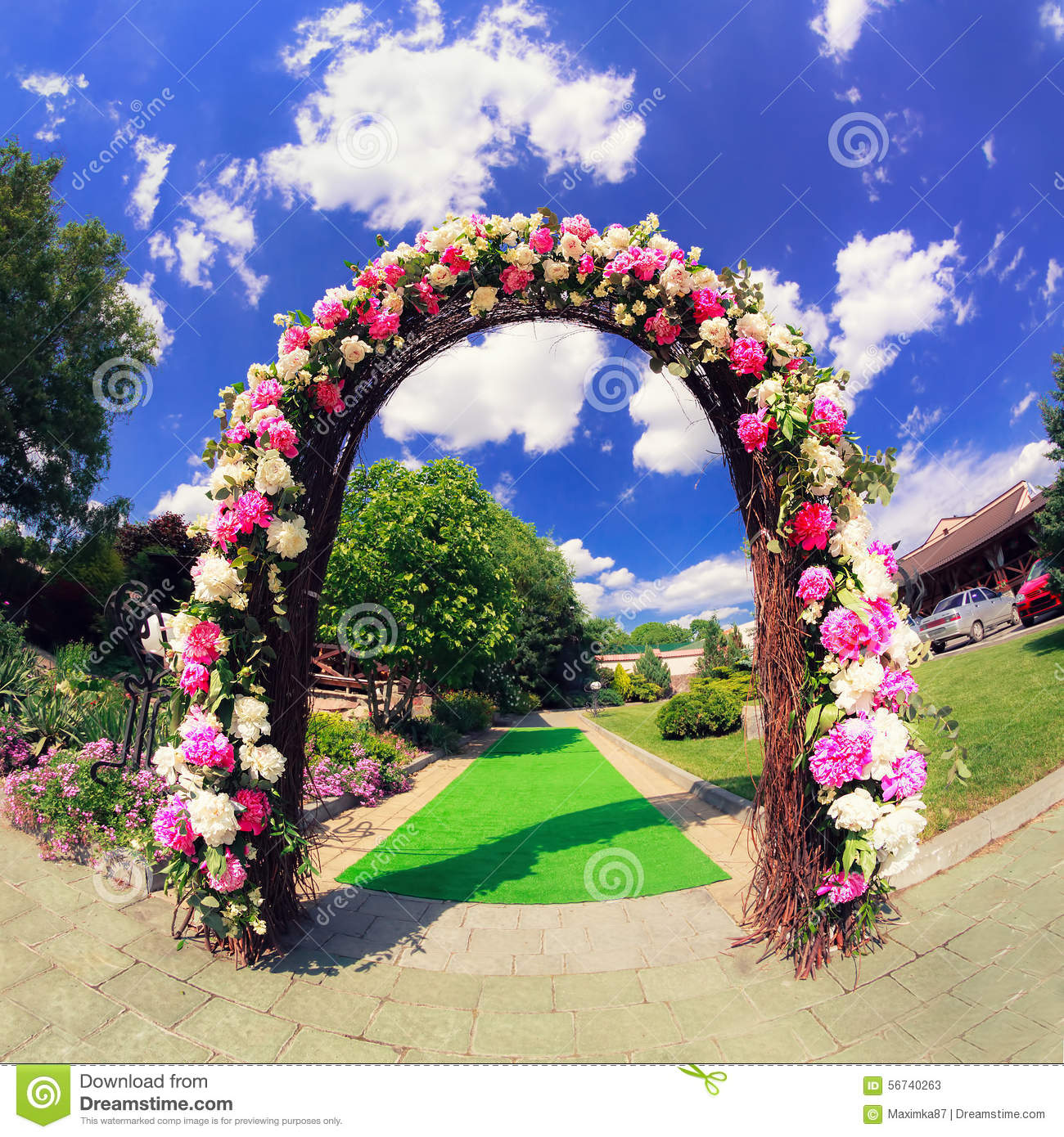 Flower Wedding Gate Stock Photo Image 56740263