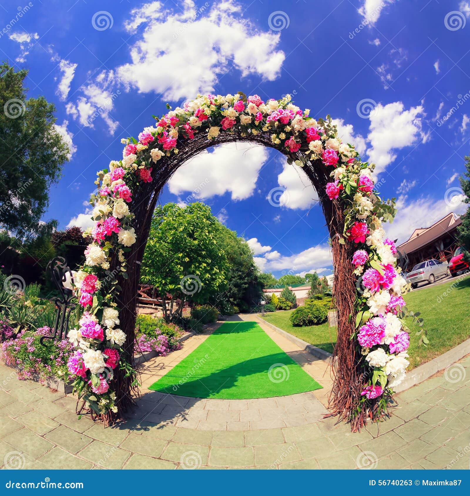 Flower Wedding Gate Stock Photo - Image: 56740263