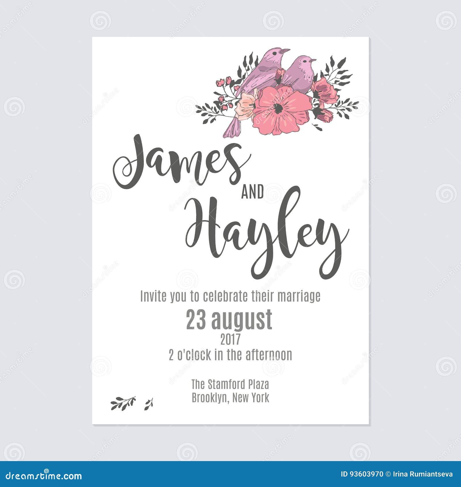 Flower Wedding Invitation Card Template Stock Illustration ...