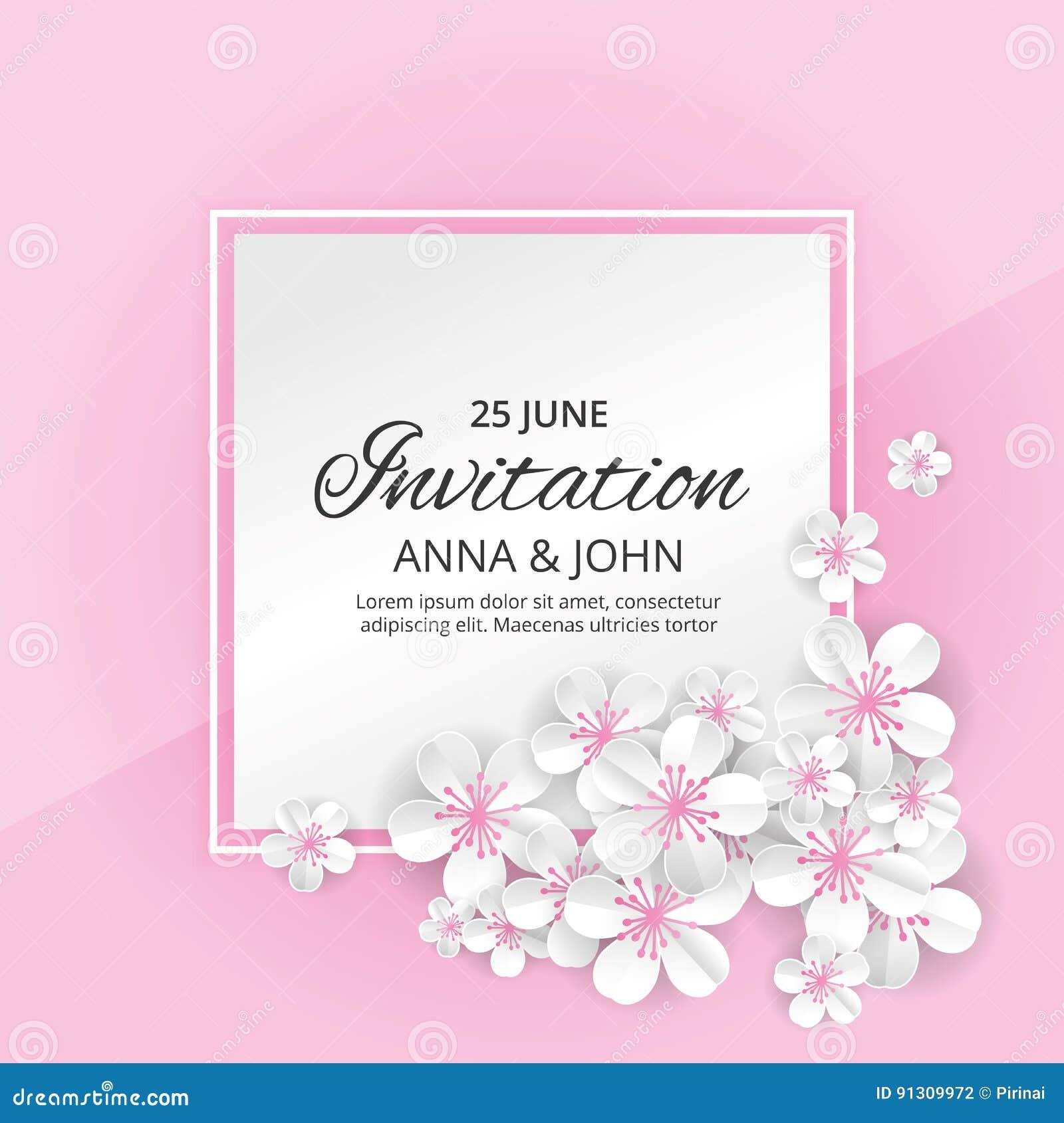 Flower Wedding Invitation Stock Vector Illustration Of Header