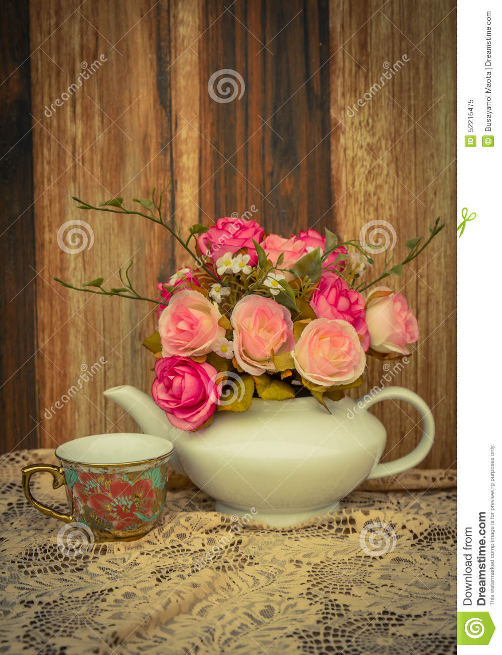 Flower In A White Tea Pot And Vintage Cozy Home Rustic