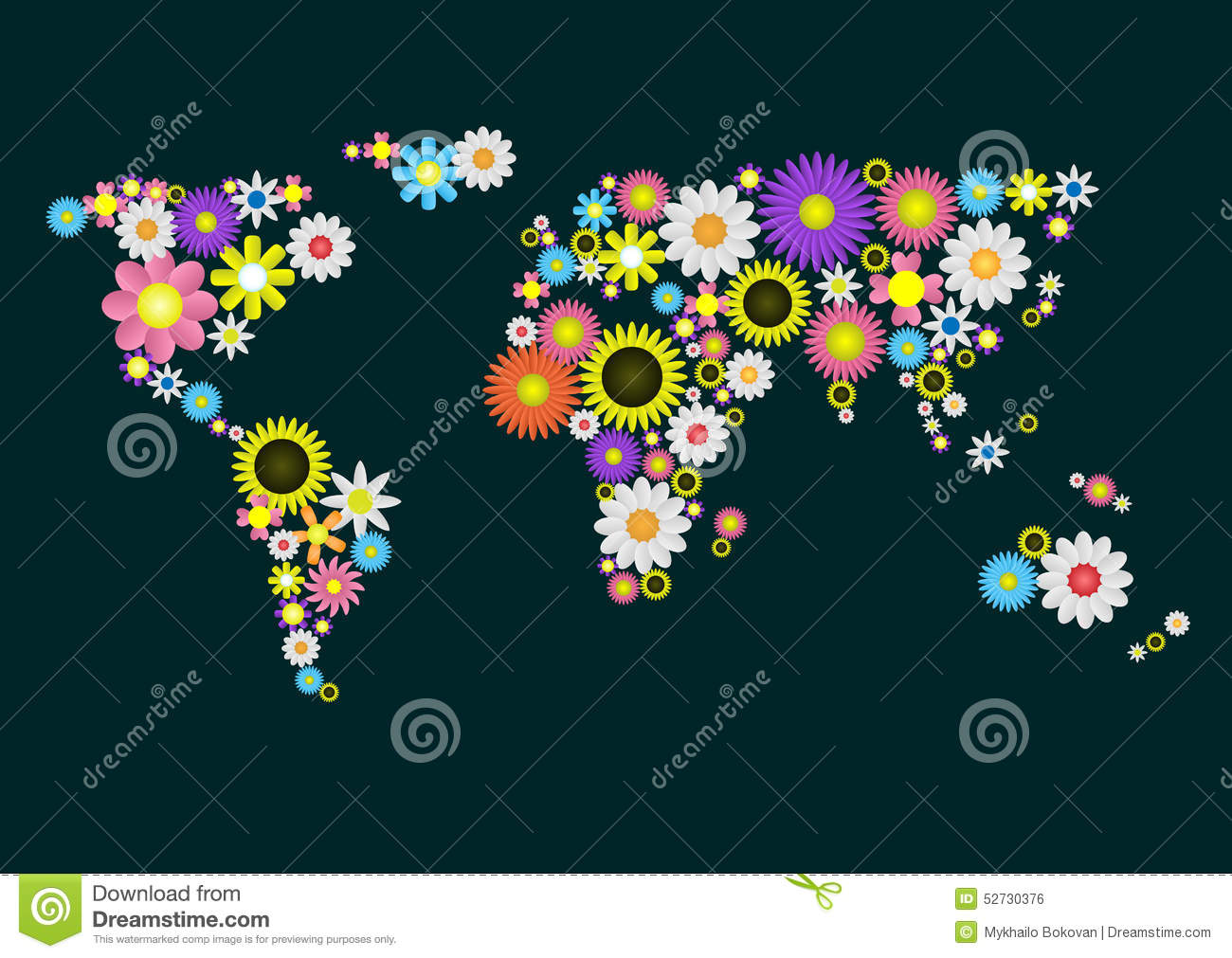 Flower World Map Stock Image