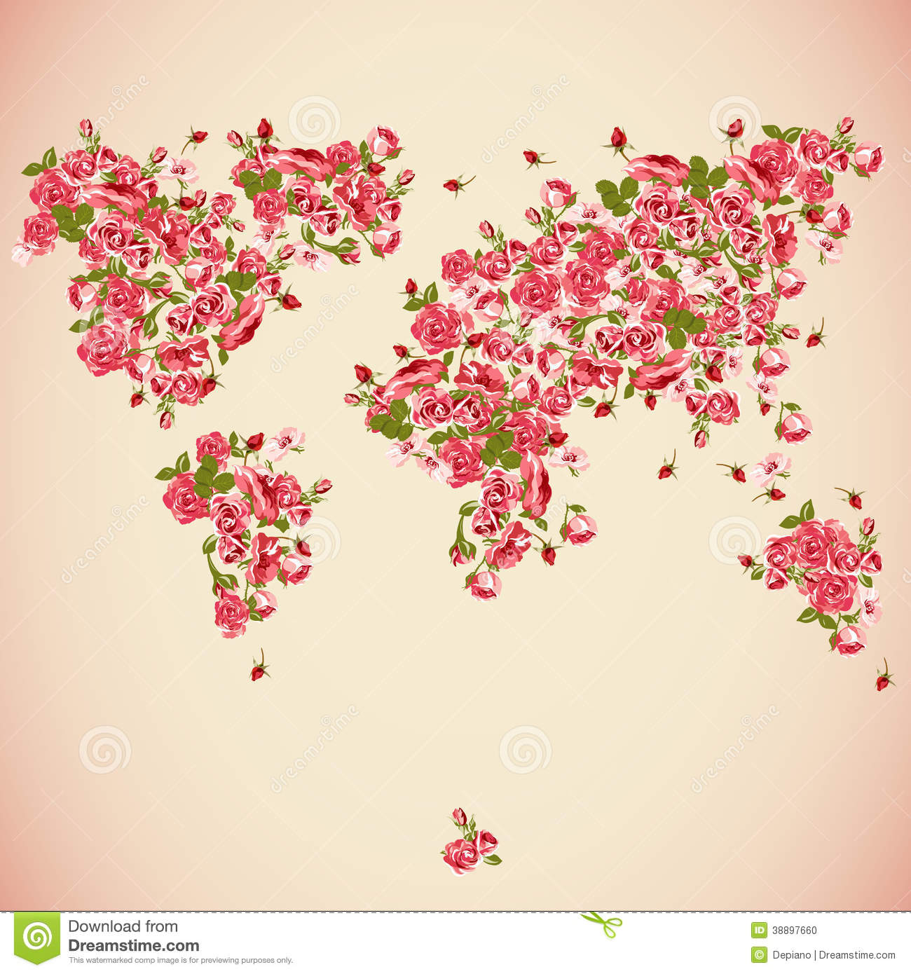 Flower World Map Eco Abstract Background Stock Vector Image
