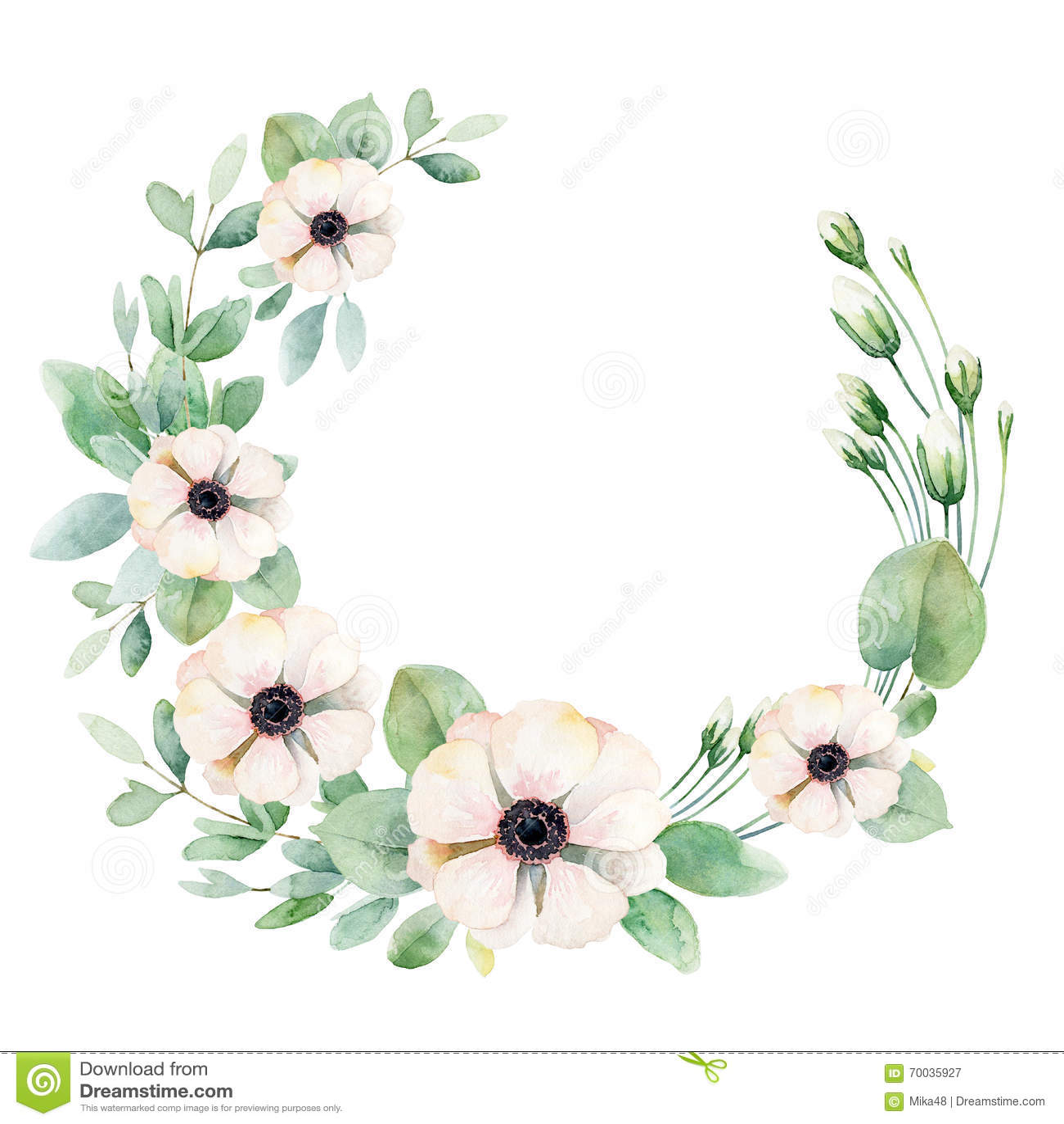 Flower Wreath With Anemones Stock Illustration Illustration Of