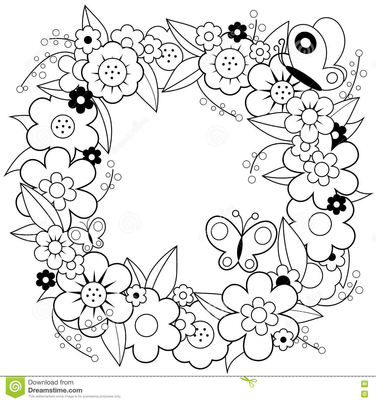 Flower Wreath Coloring Pages