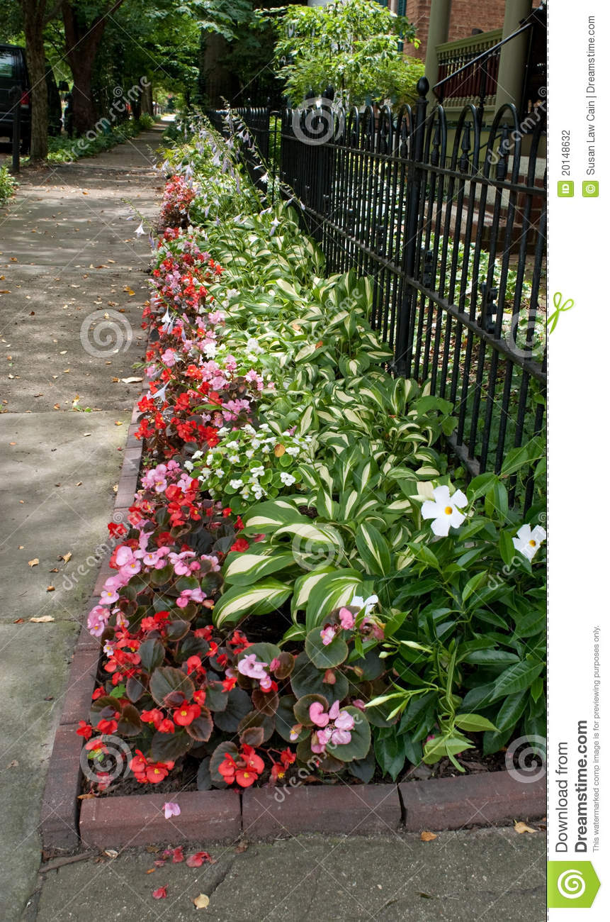 Flowerbed Along Sidewalk Stock Photography Image 20148632