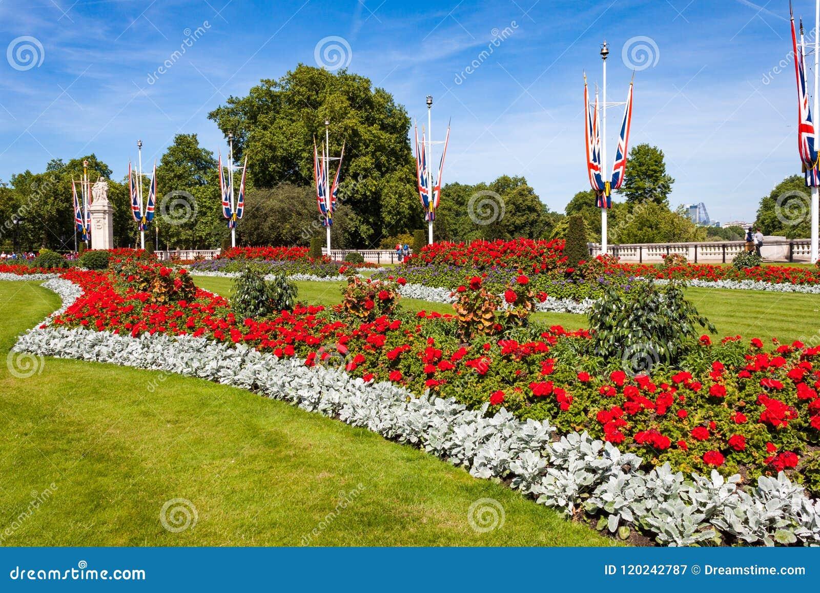 Flowerbed przed buckingham palace