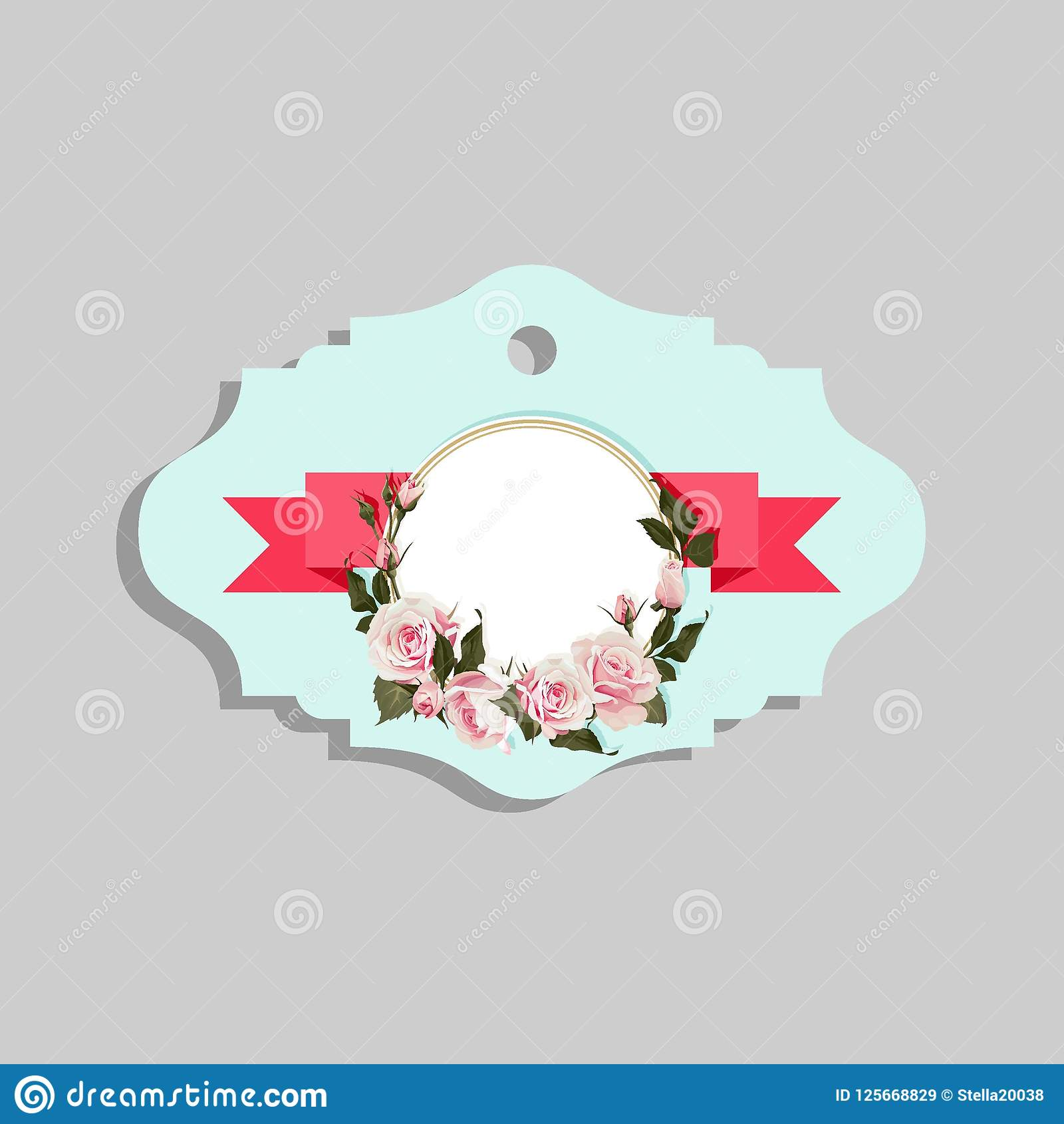 flowered gift tag shapes vector clip art isolated luggage tag with