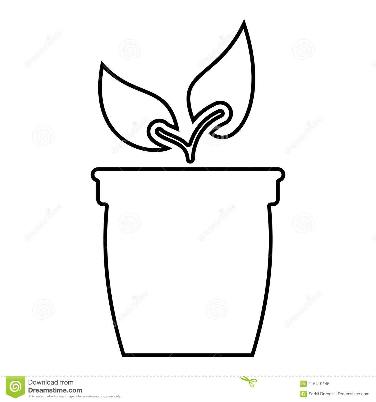 Flowerpot Or Pot With Plant Icon Black Color Illustration Flat Style