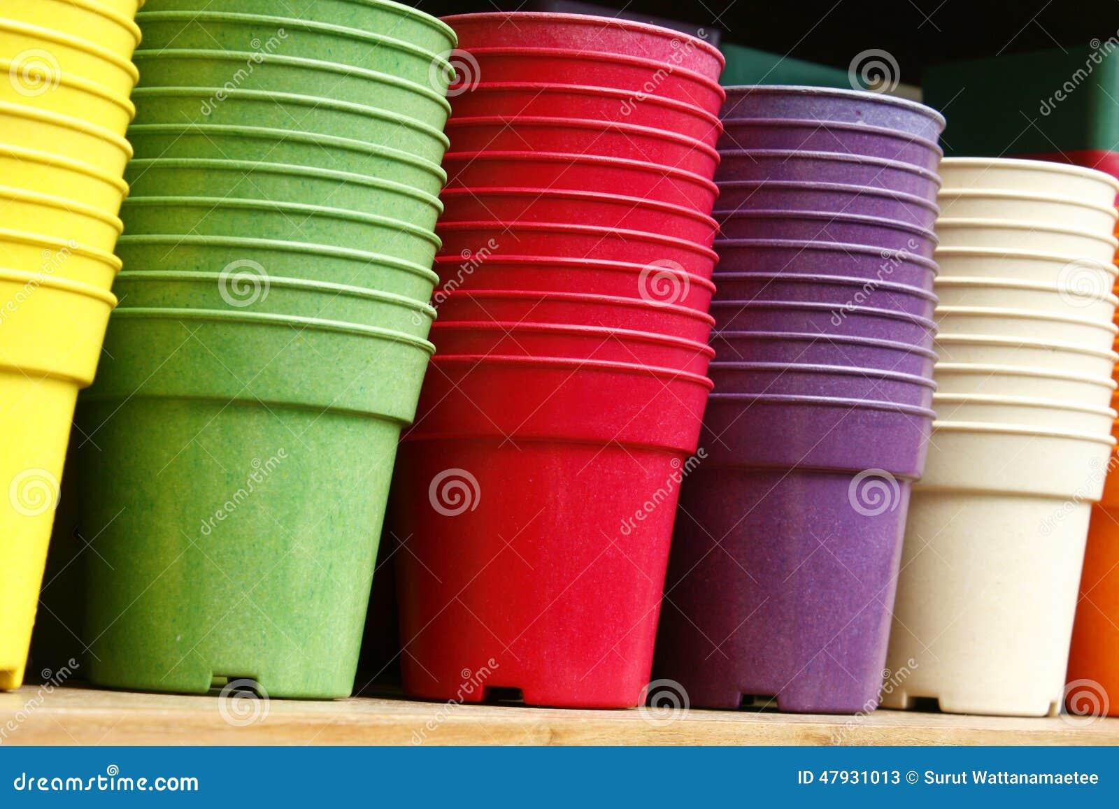 flowerpots - plastic flower pots stock image - image of closeup