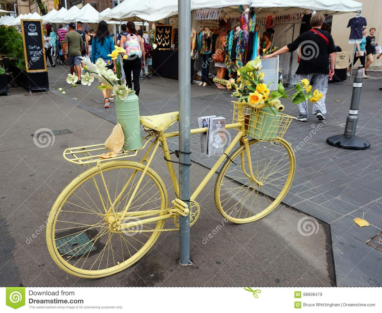 Dreamstime.com & Flowerpots On Yellow Bicycle Editorial Stock Image - Image ...