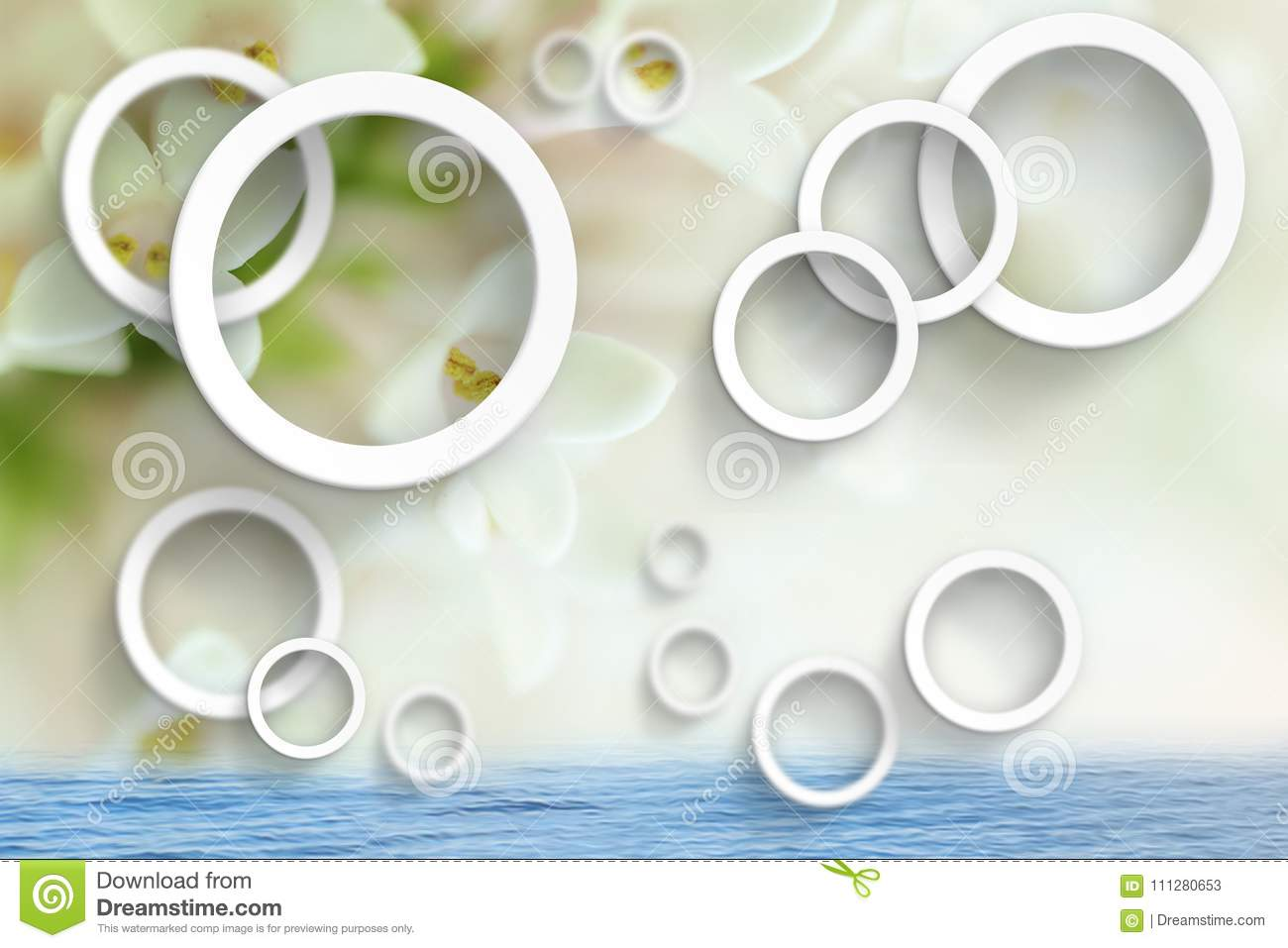 Flowers abstraction. Stereoscopic photo wallpaper for interior. 3D rendering.