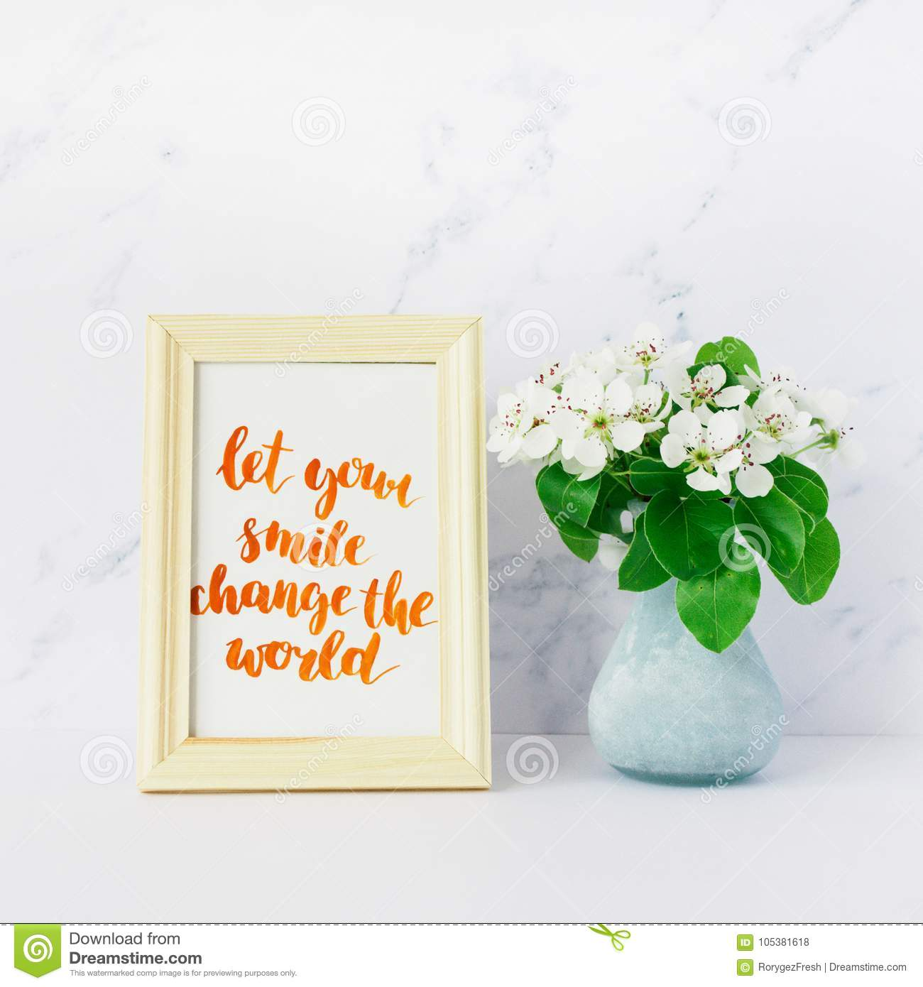 Flowers Of Apple Tree In Vase Card With Inspiration Quote Stock