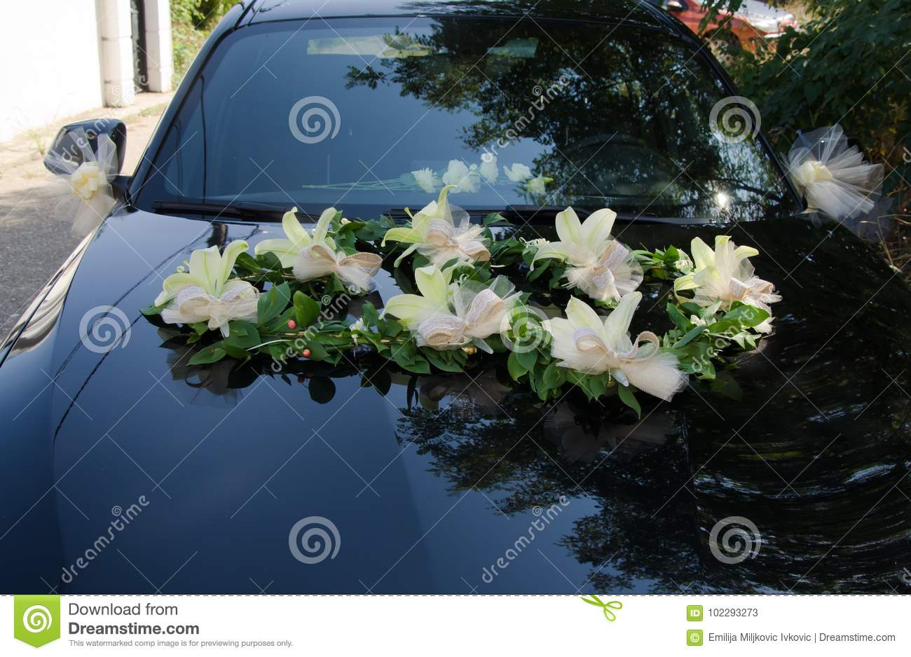 Flowers As Decoration On Car Stock Image Image Of Reception