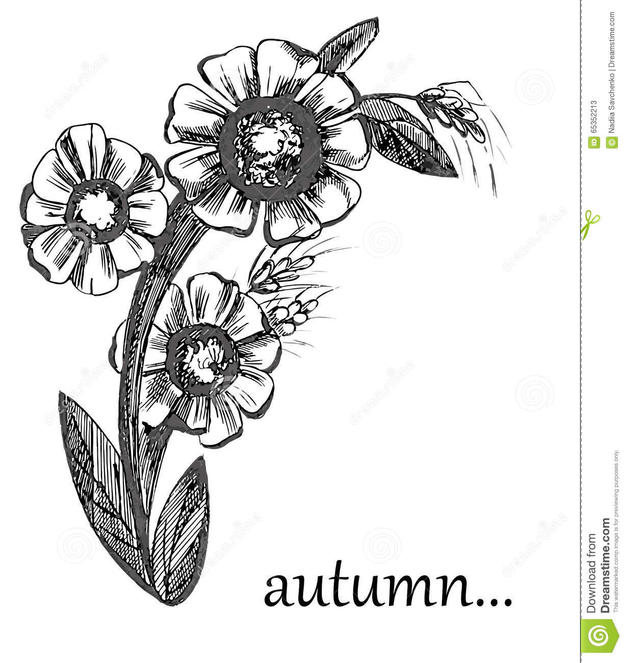 Flowers autumn pattern graphic black and white stock illustration flowers autumn pattern graphic black and white mightylinksfo