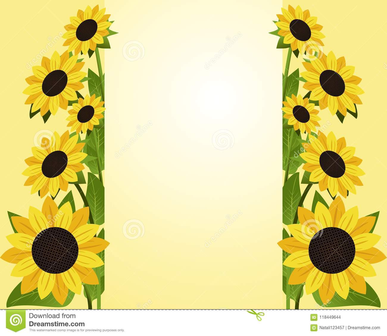 Flowers Background With Borders Of Sunflower With Place For Your Information Stock Vector Illustration Of Colorful Flora 118449644
