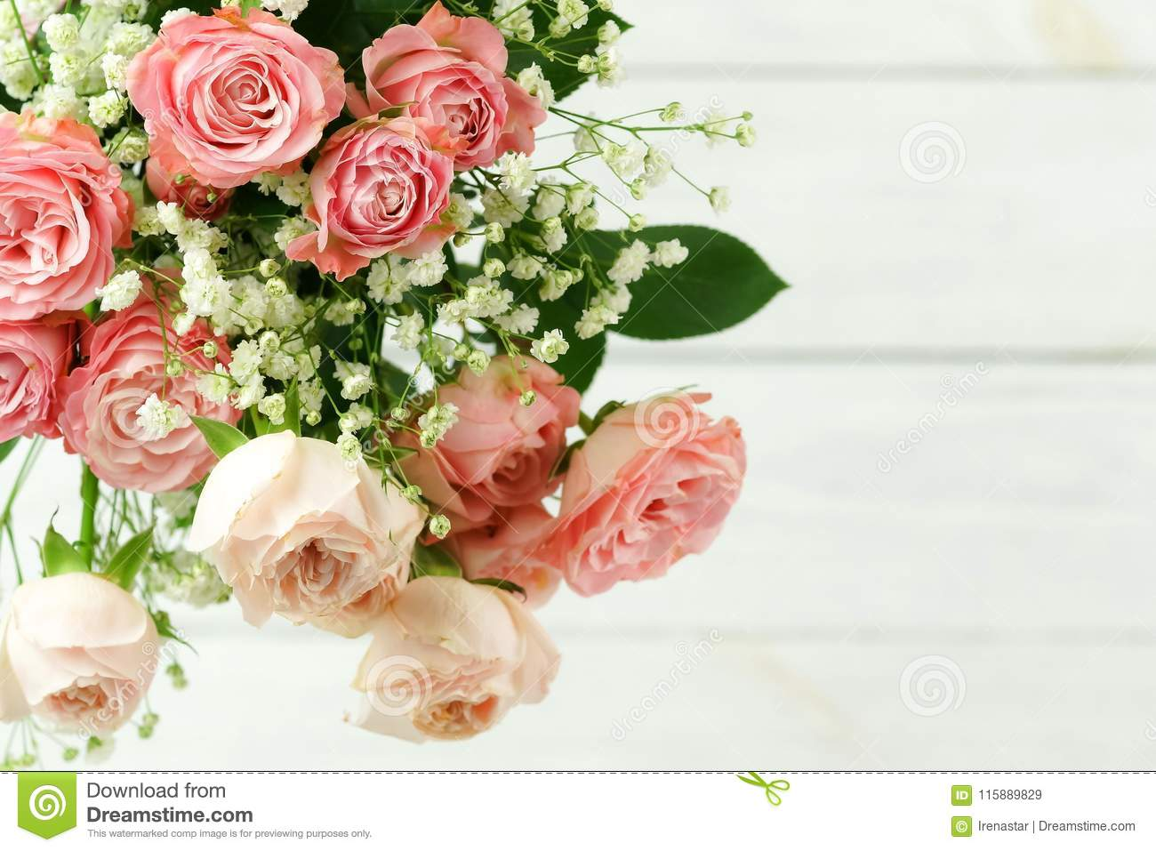 Flowers background. Bouquet of beautiful pink roses