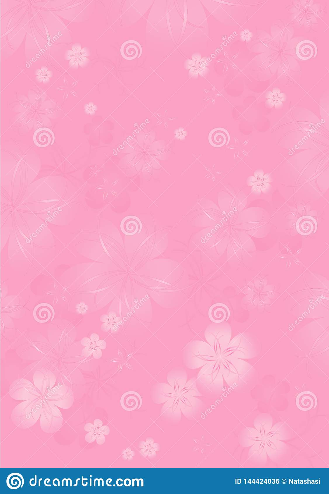 Flowers background. Flowers design. Vector abstract illustration. Light Pink Sakura blossoms background. Vector