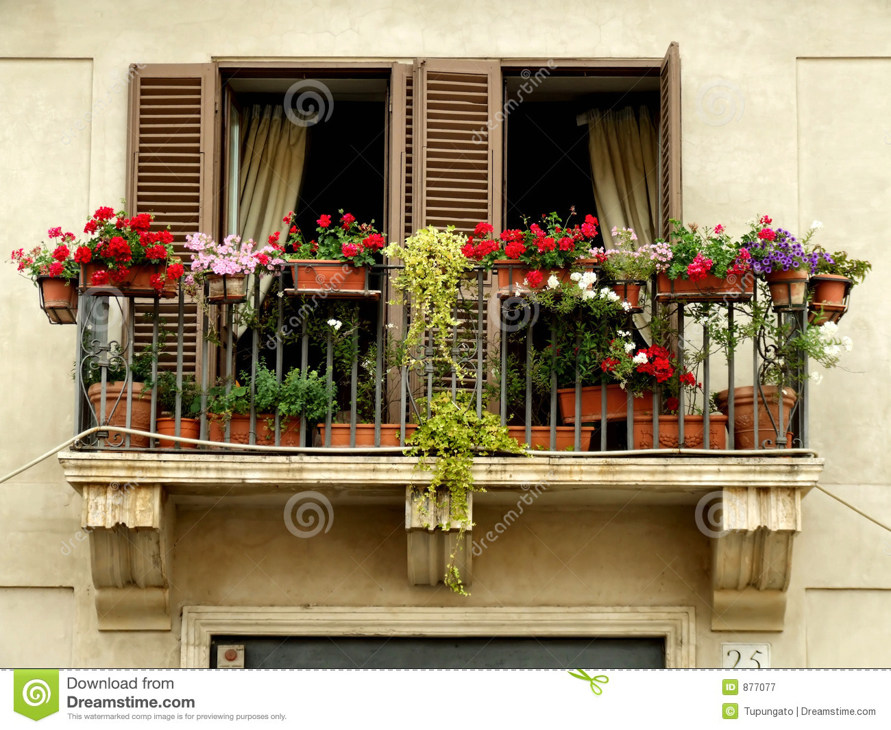 Flowers on a balcony royalty free stock photography for Balcony in italian