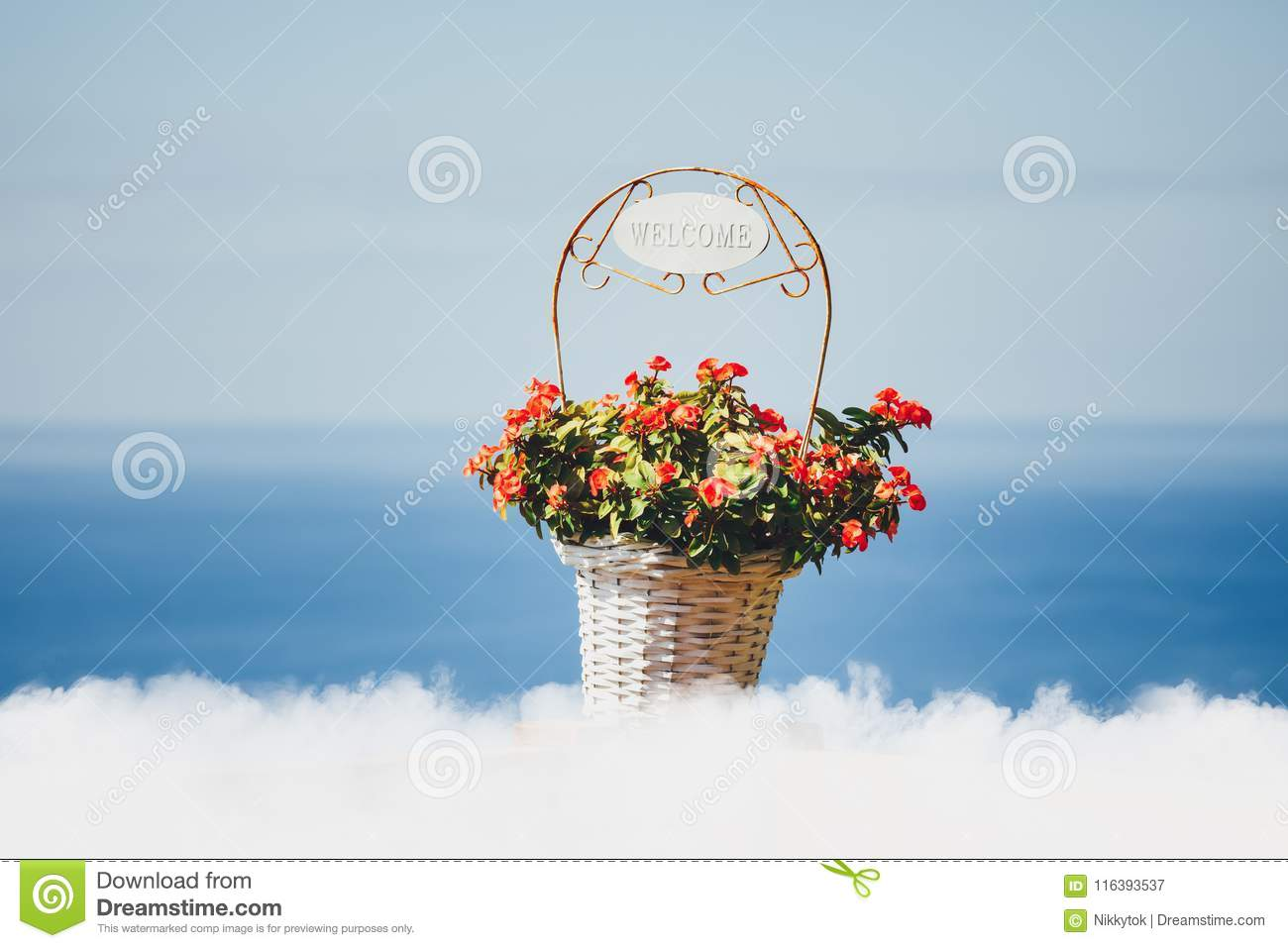 Flowers Basket With Welcome Title, Clouds And Blue Sea Background ...