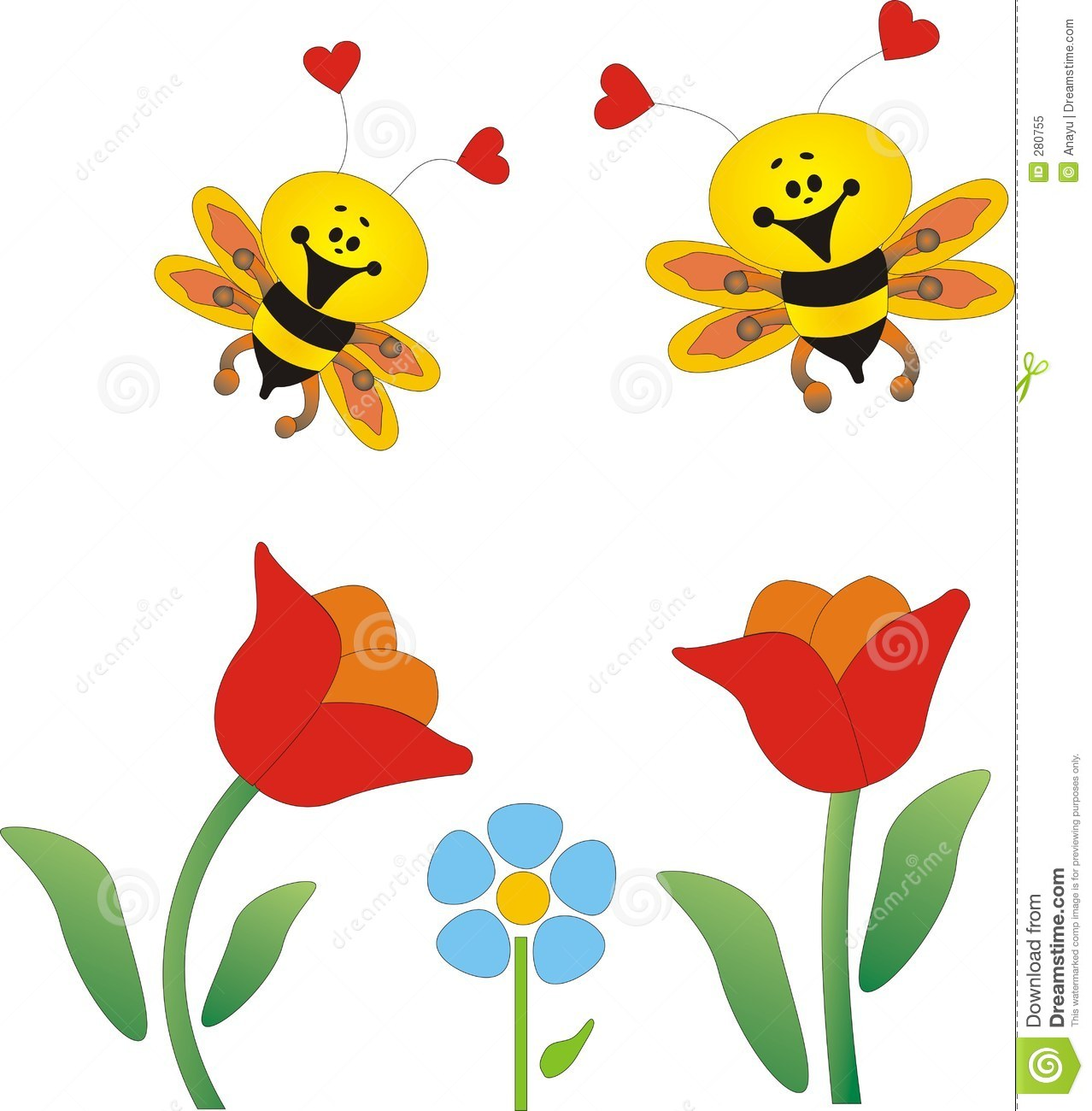 Flowers And Bees Stock Illustration Illustration Of Animals 280755