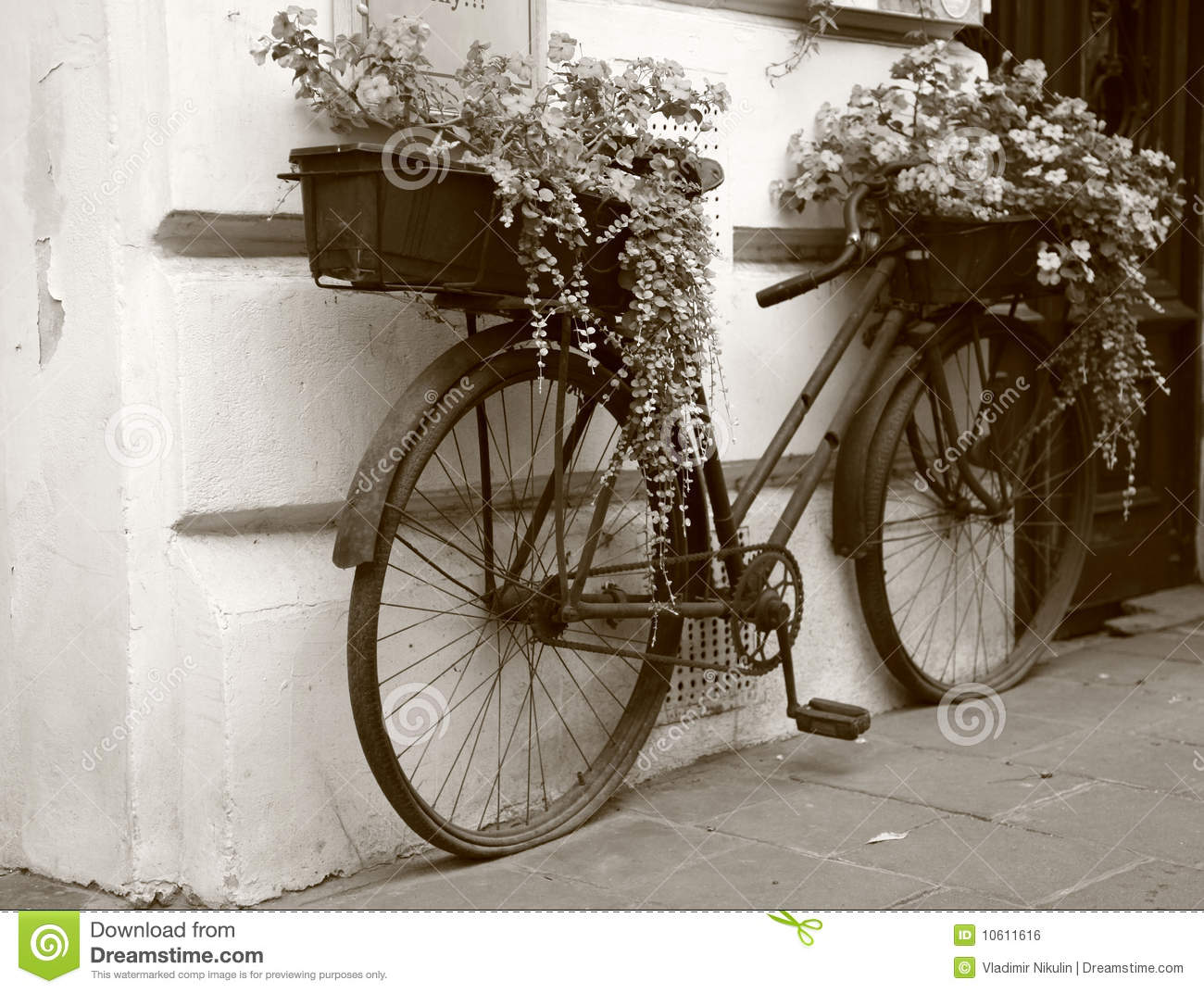 Download Flowers At Bike, Retro Style Stock Photo - Image of exterior, europe: 10611616