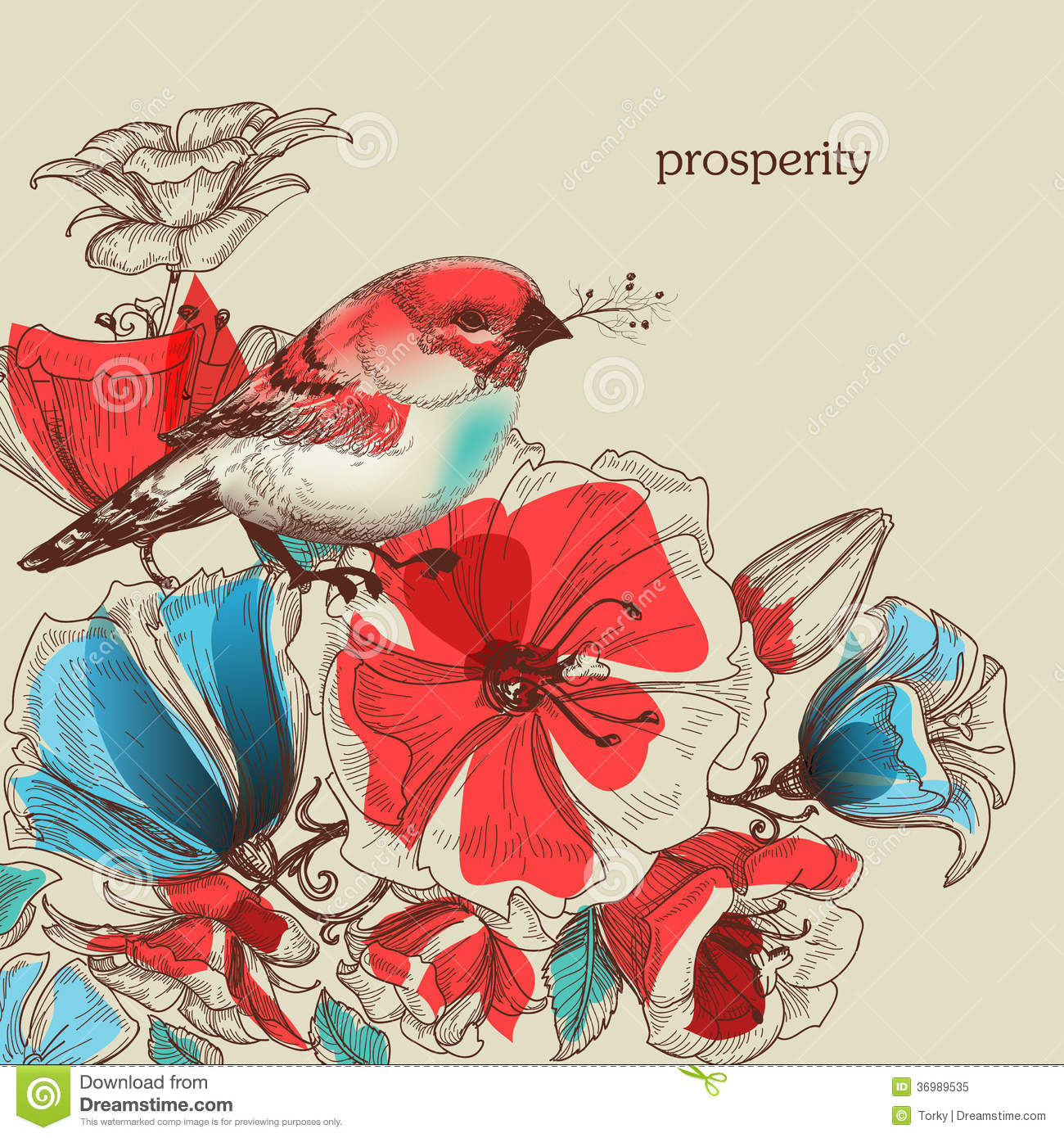 flowers and bird illustration royalty free stock photo