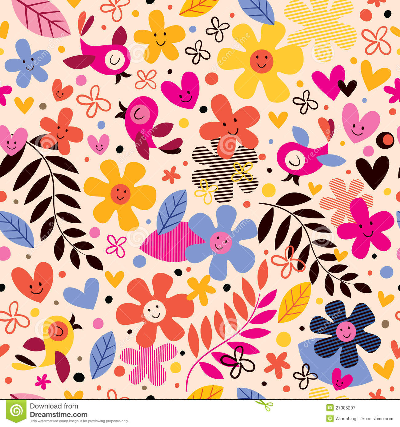 Flowers And Birds Pattern Royalty Free Stock Photography - Image ...