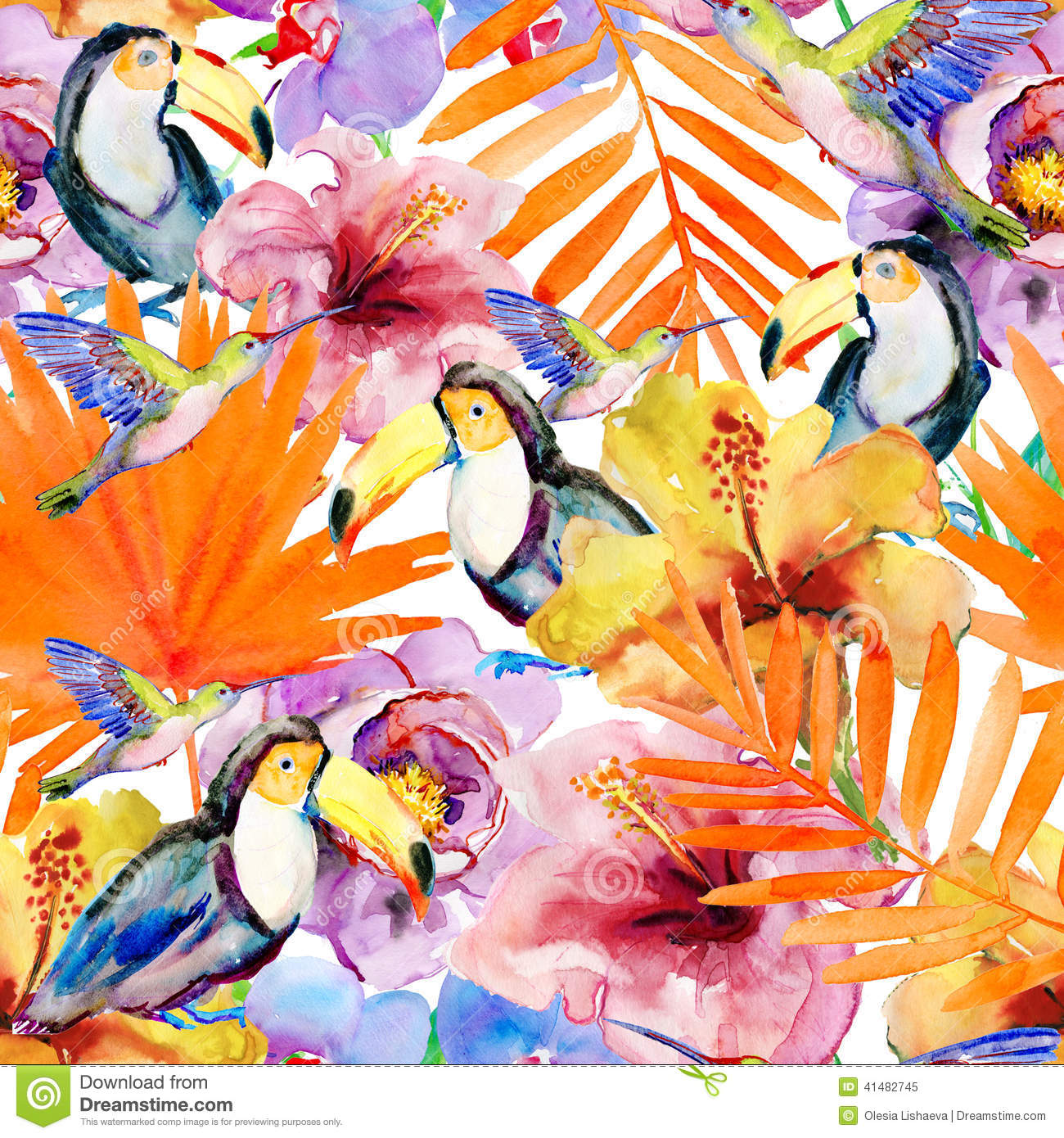 Flowers and birds on a white background. painting