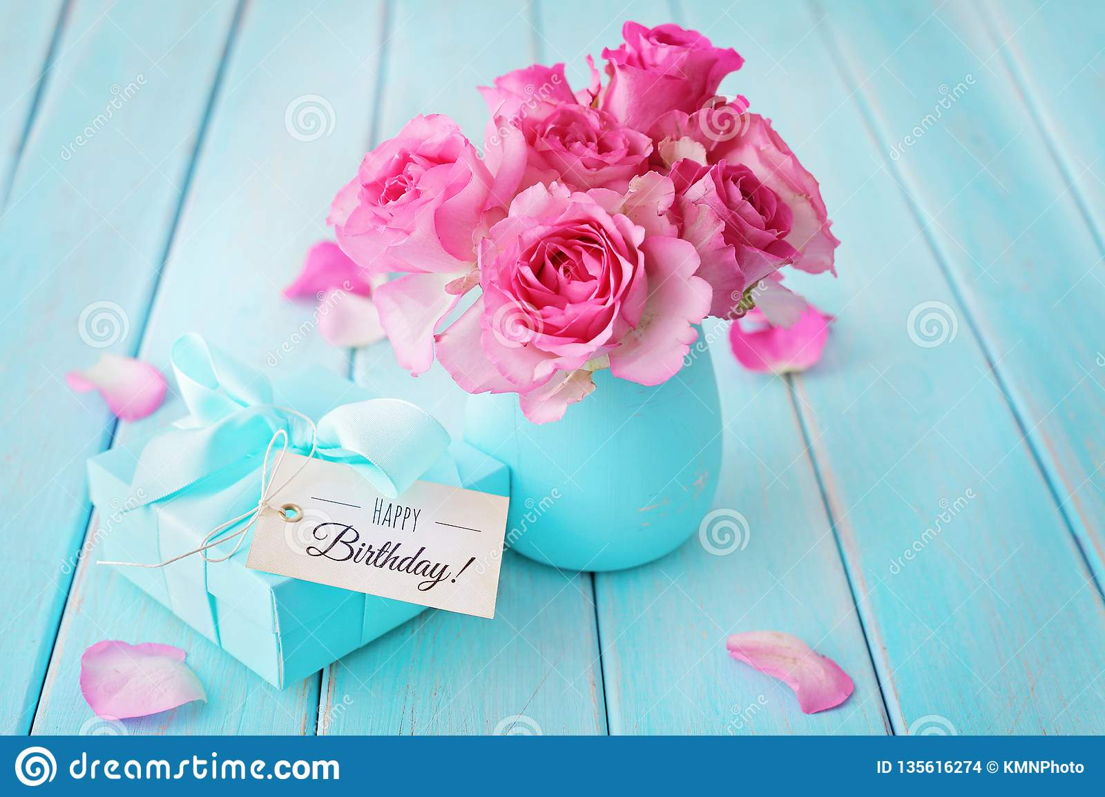 Flowers and birthday gift