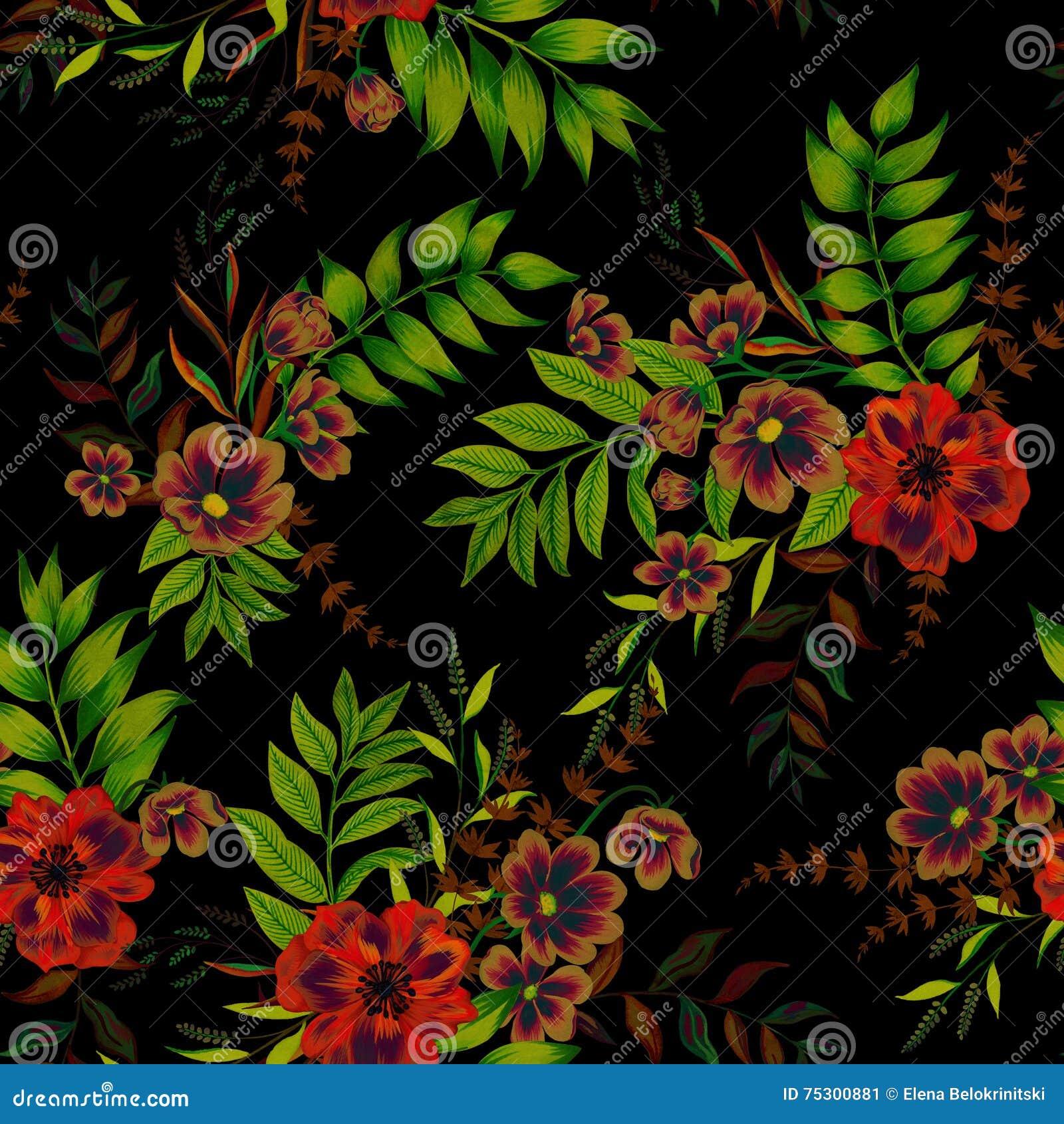15 Most Beautiful Black Flowers: Flowers On Black Pattern Stock Illustration