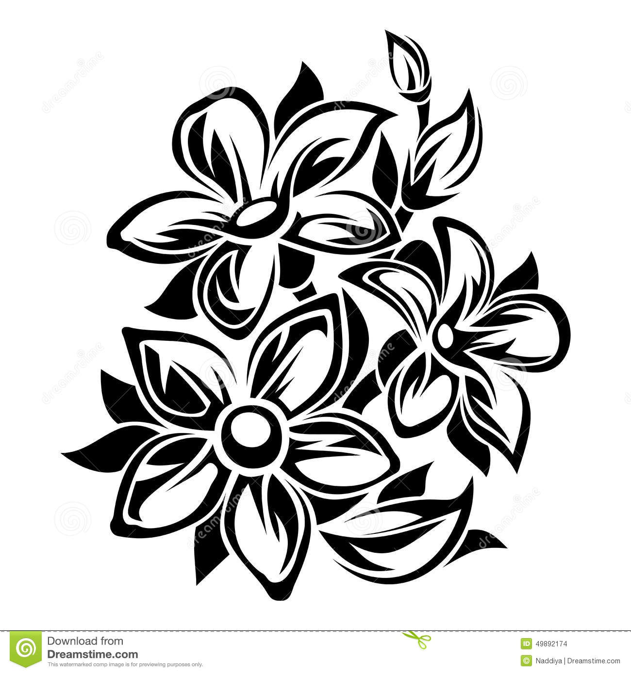 Flowers Black And White Ornament Vector Illustration