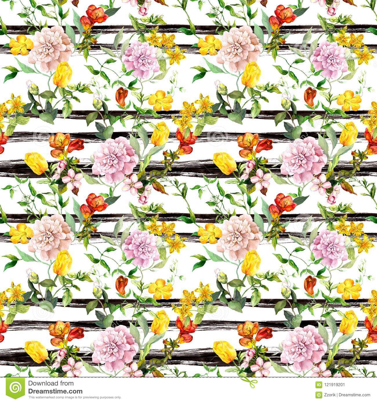 Flowers at black-white striped background. Repeating floral background. Watercolor with ink stripes