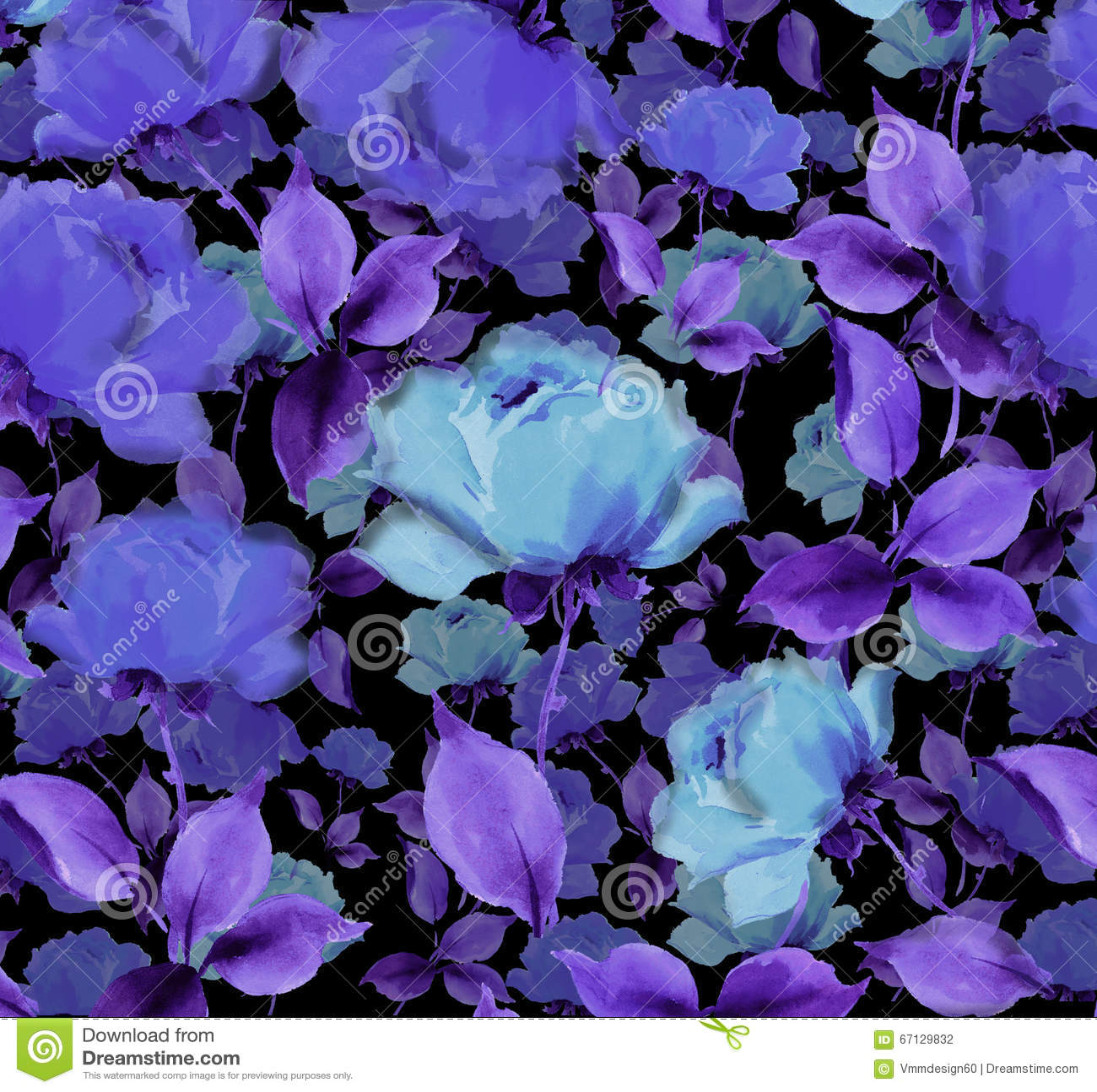 Flowers Blue Velvet Watercolor Oil Painting Textured