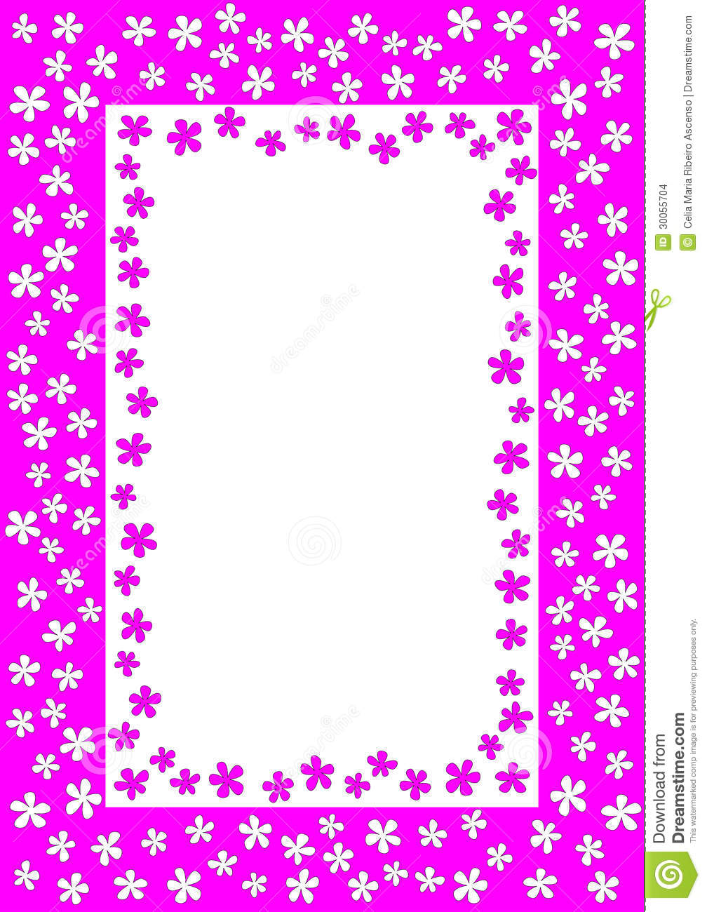 frame with pink and white flowers stock photo