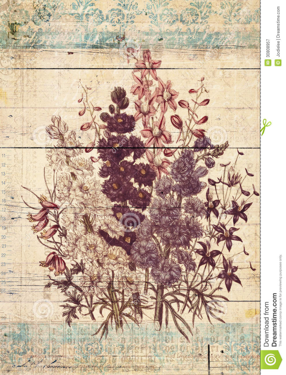 Flowers botanical vintage style wall art with textured background royalty fre - Vintage style images ...