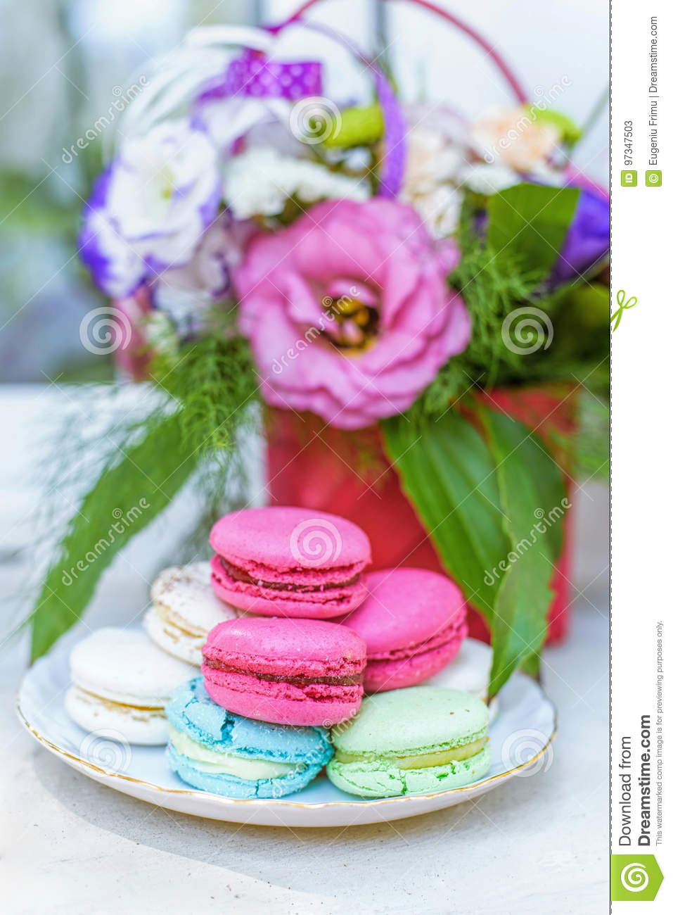 Flowers Bouquet In A Basket Stock Image Image Of Isolated Bright