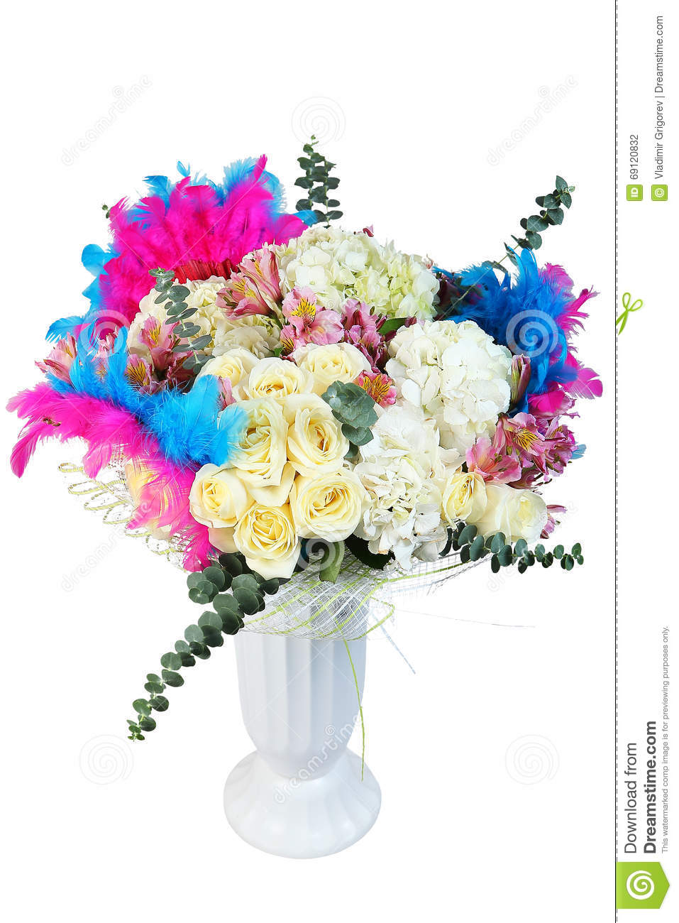 Flowers Bouquet Floral Arrangement With Cream Roses And Dyed Fe Stock Photo Image Of Plant Bouquet 69120832