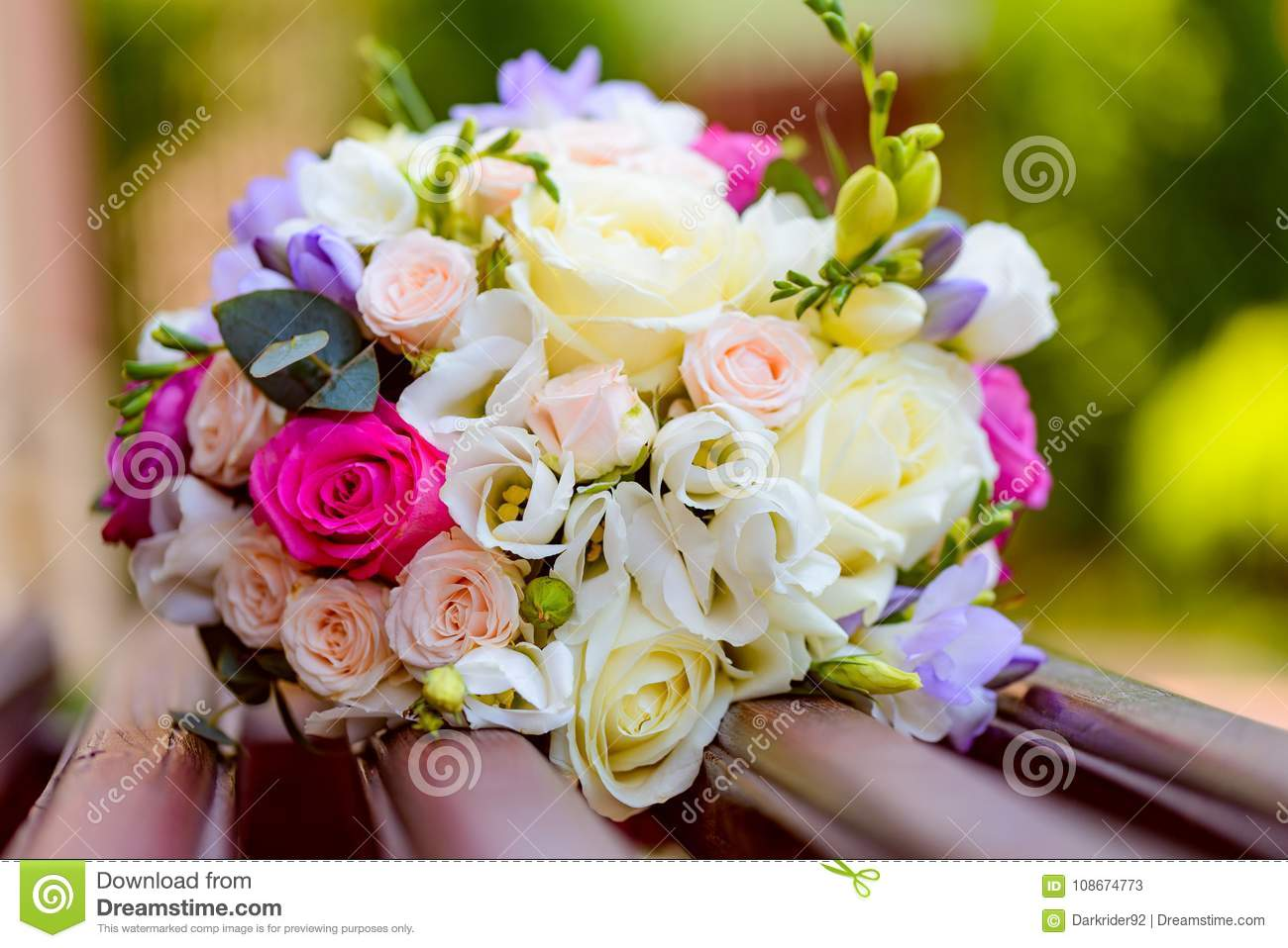 Flowers Bouquet Laying On Bench Stock Image Image Of Love Floral