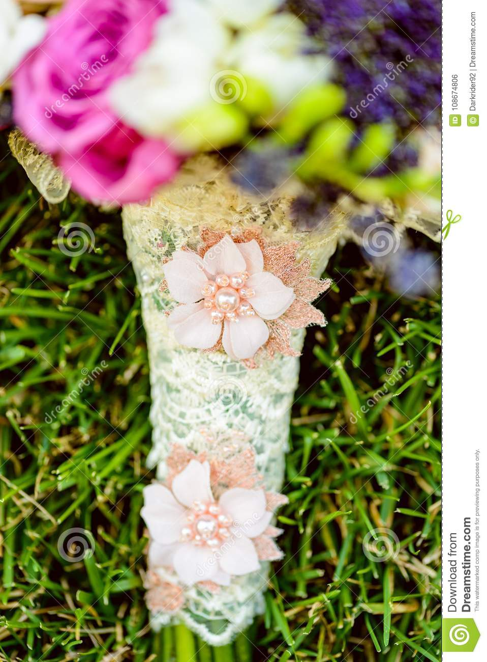 Flowers bouquet laying in grass stock photo image of fresh bouqet one flowers wedding bouquet laying in grass outside izmirmasajfo