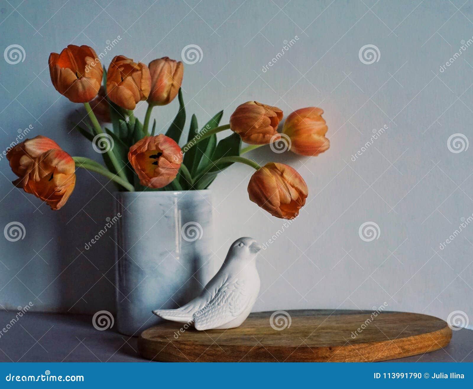 tulips flowers bouquet close-up white vase wall bird indoor