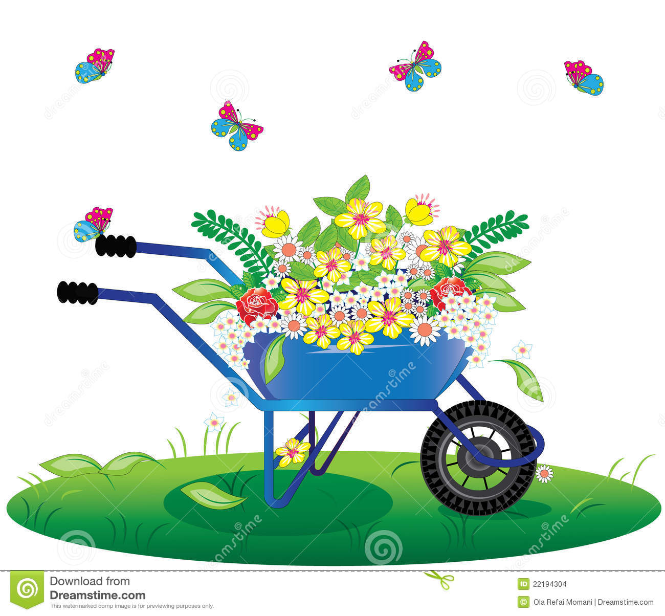 Flowers Bouquet In Wheelbarrow Stock Images - Image: 22194304