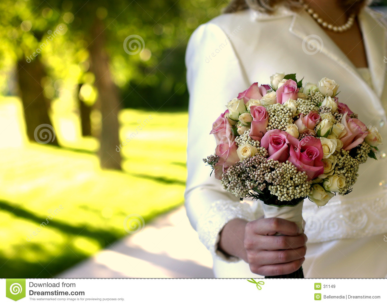 Flowers for a bride at her wedding