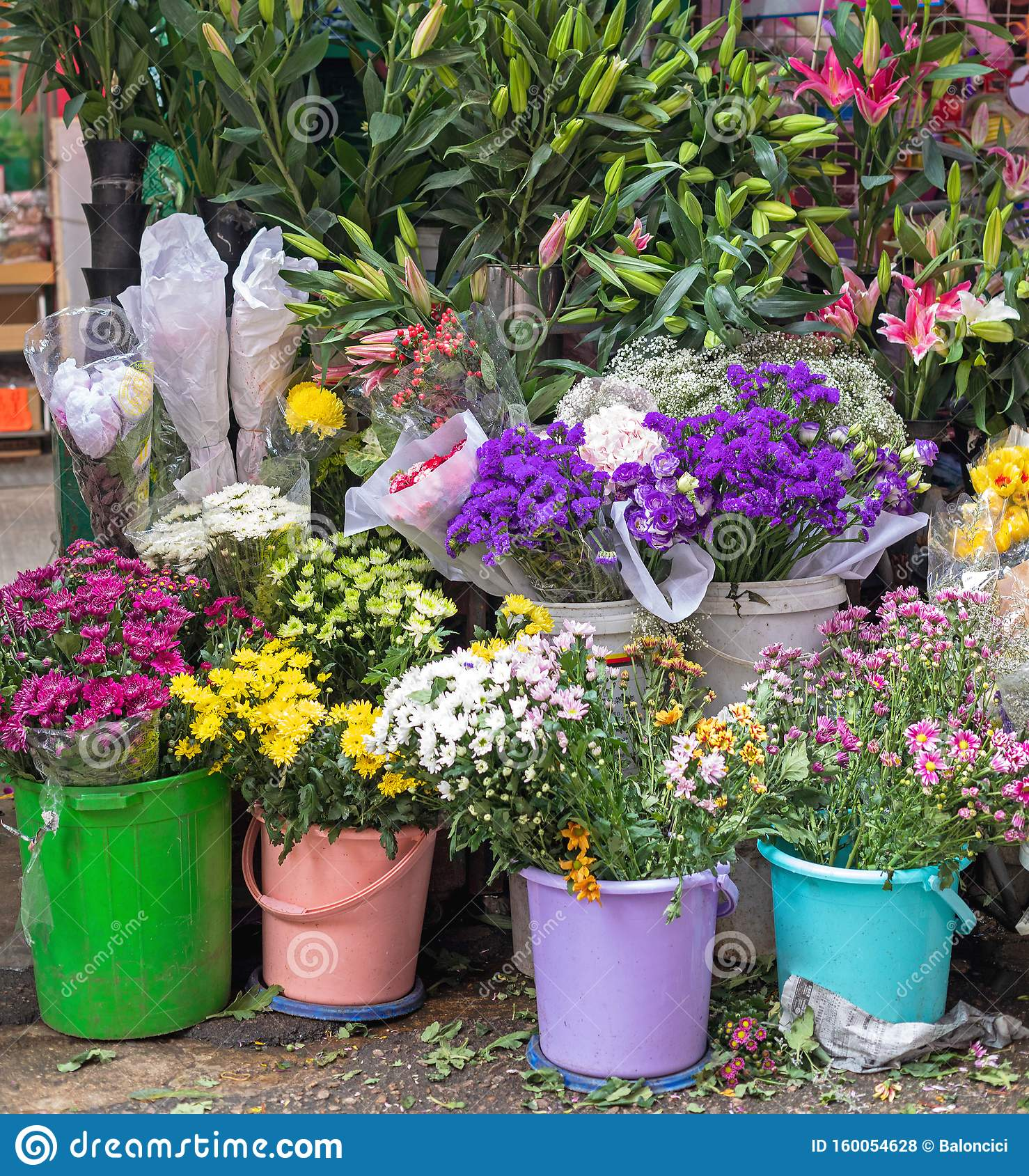 Flowers In Buckets Stock Photo Image Of Shop Buckets 160054628