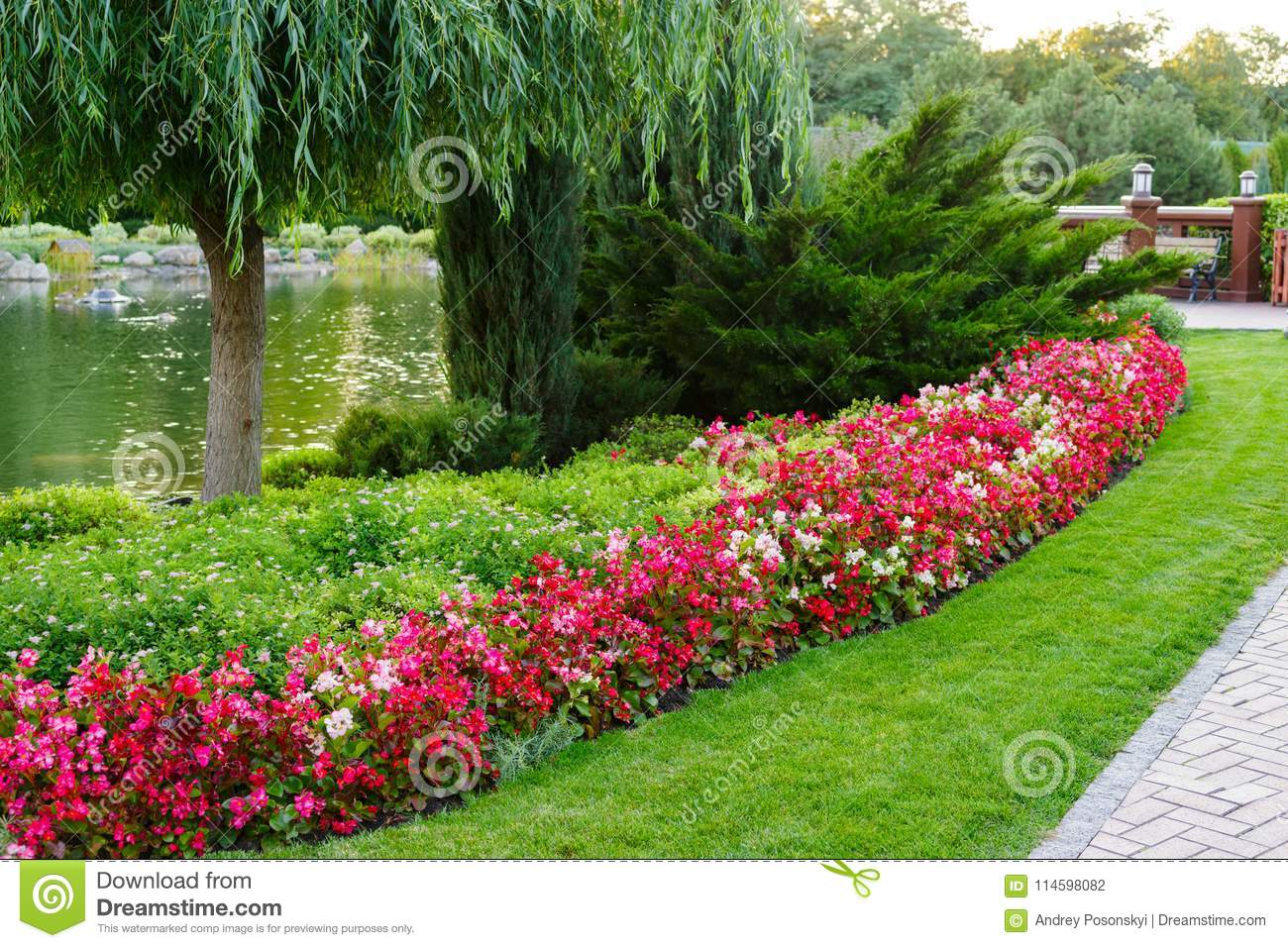 Flowers And Bushes In A Landscape Park Stock Photo Image Of