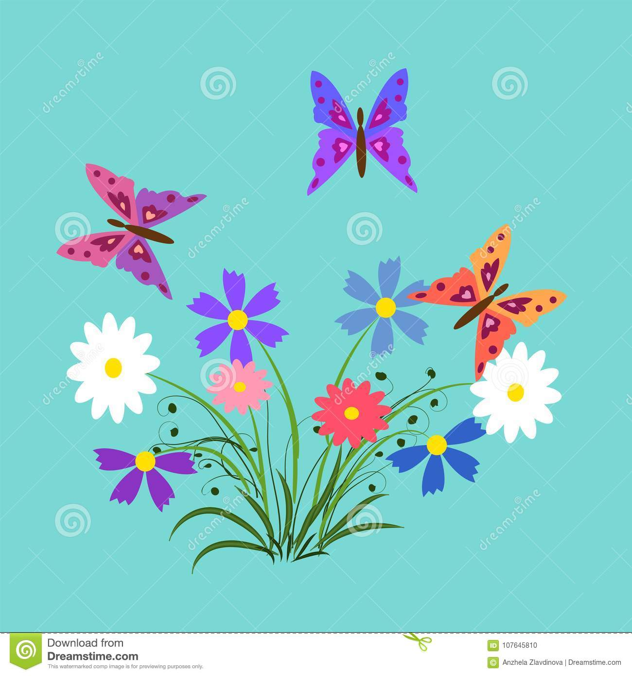 The Flowers And Butterflies Illustration Elements For Design